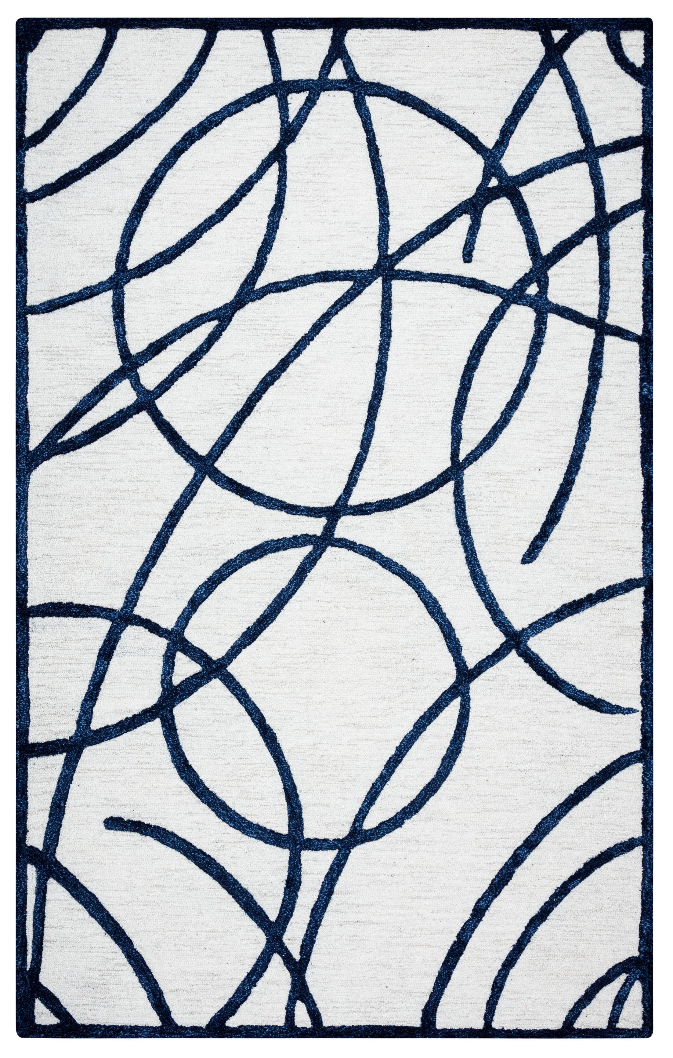 Climenhaga Hand-Tufted Off White/Black Area Rug Size: Rectangle 9' x 12'