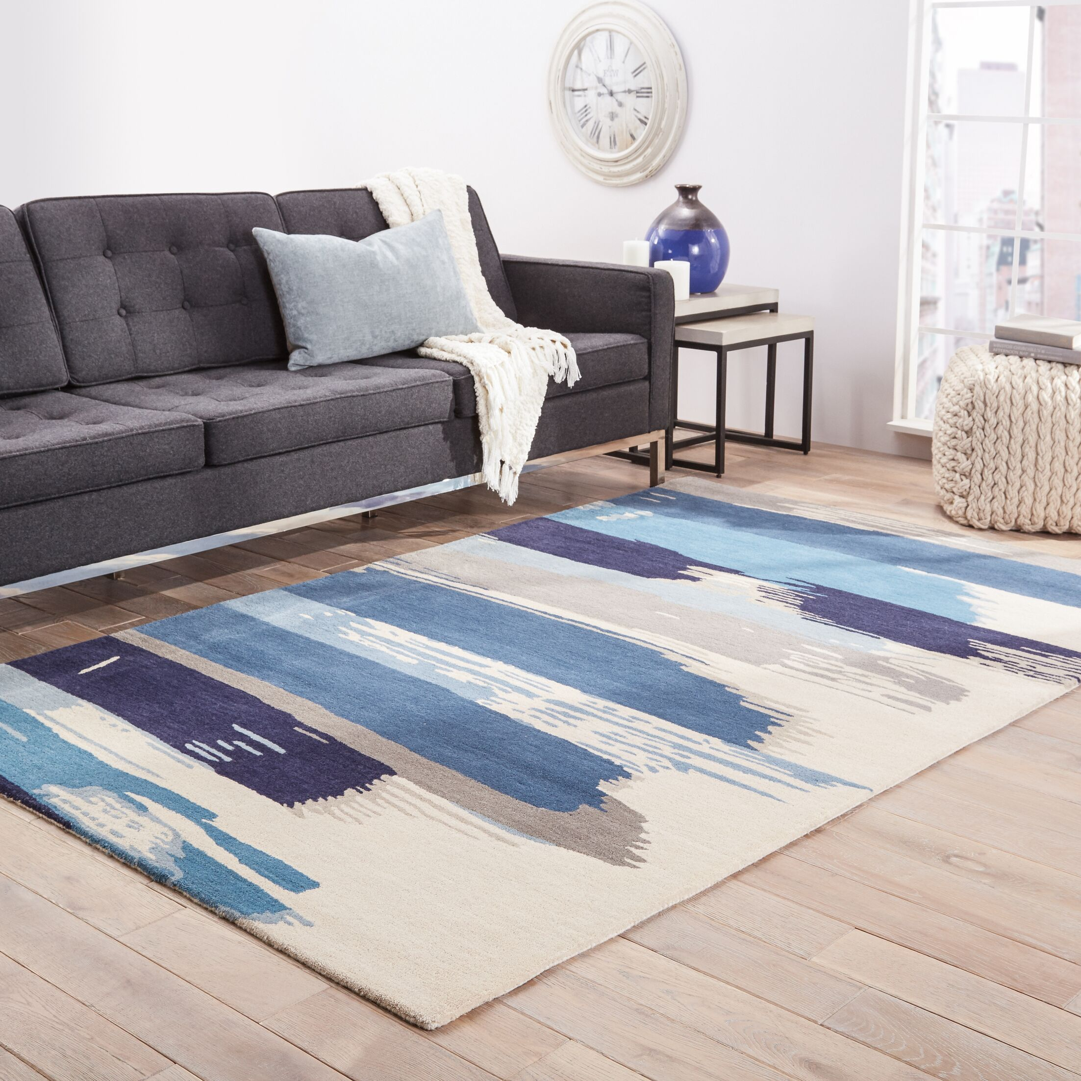 Nick Blue & Ivory Floral Area Rug Rug Size: Rectangle 8' x 11'