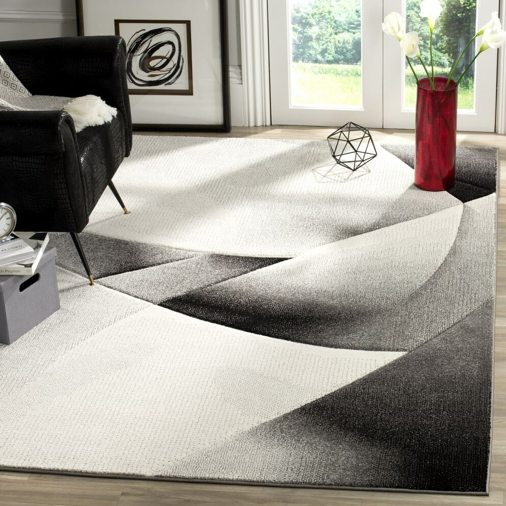 Anne Abstract Gray/Dark Gray Area Rug Rug Size: Rectangle 9' x 12'