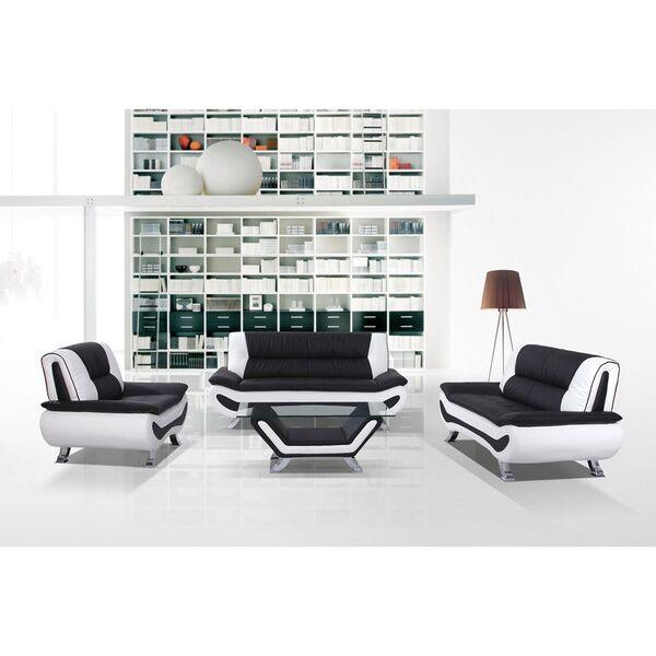 Berkeley Heights 4 Piece Living Room Set Upholstery: Black / White