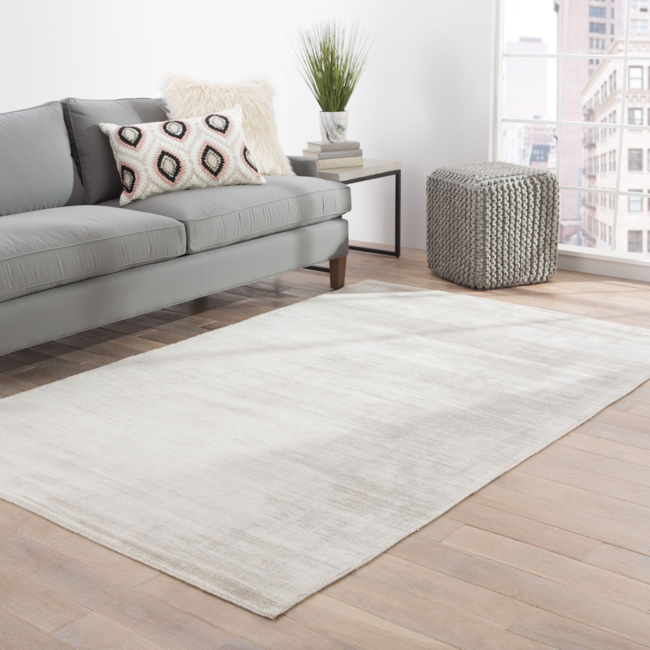 Canarsie Hand-Loomed Gray Area Rug Rug Size: Rectangle 8' x 10'