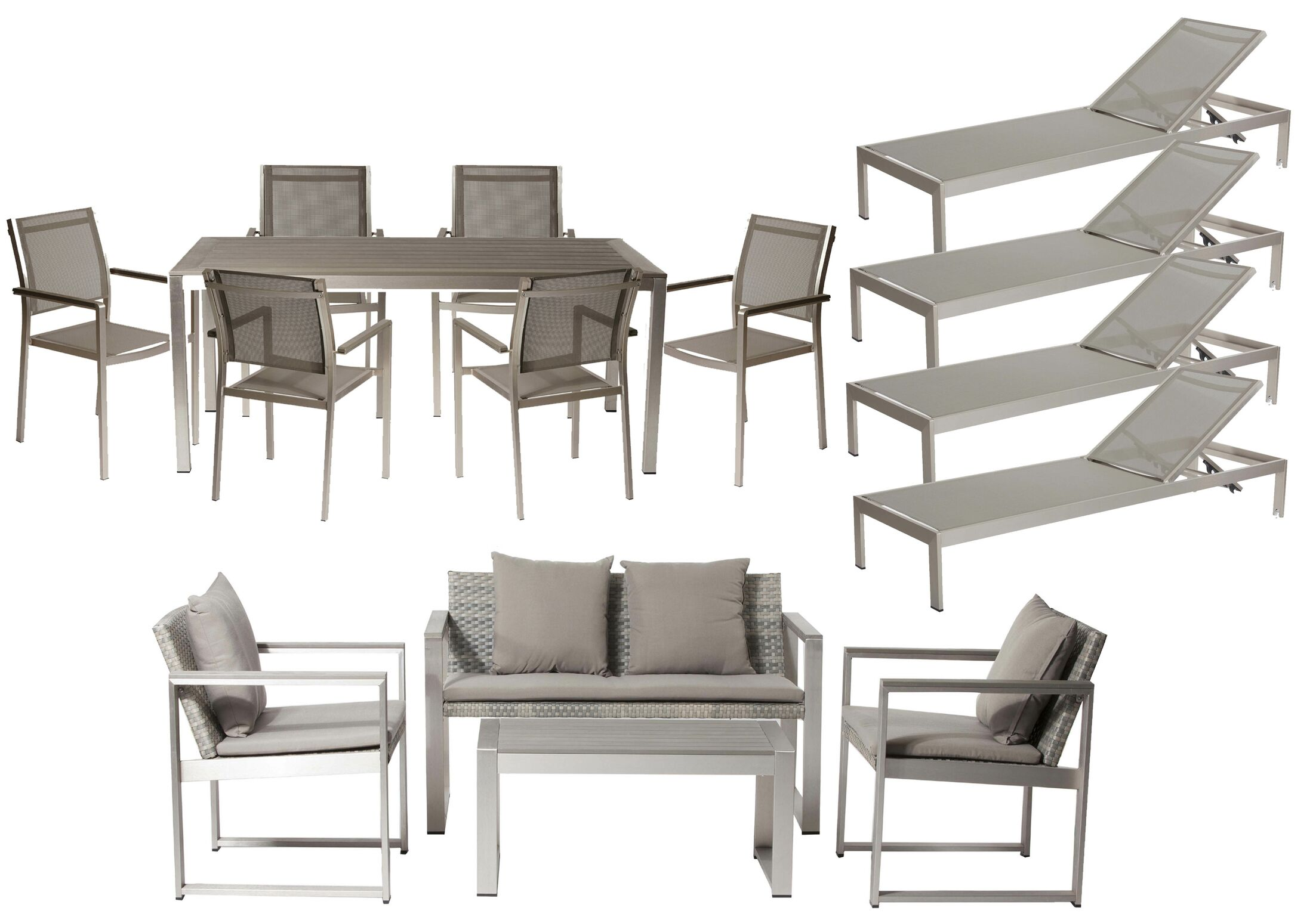 Dorsey 15 Piece Conversationl Set with Cushions Frame Color: Gray, Cushion Color: Gray