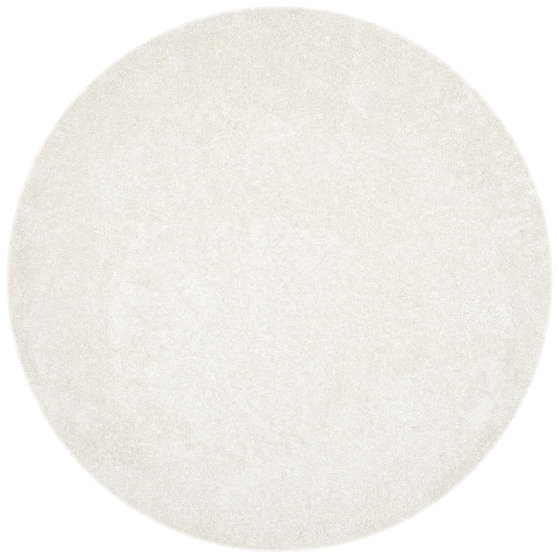 Chesa Hand-Tufted/Hand-Hooked White Area Rug Rug Size: Round 7'