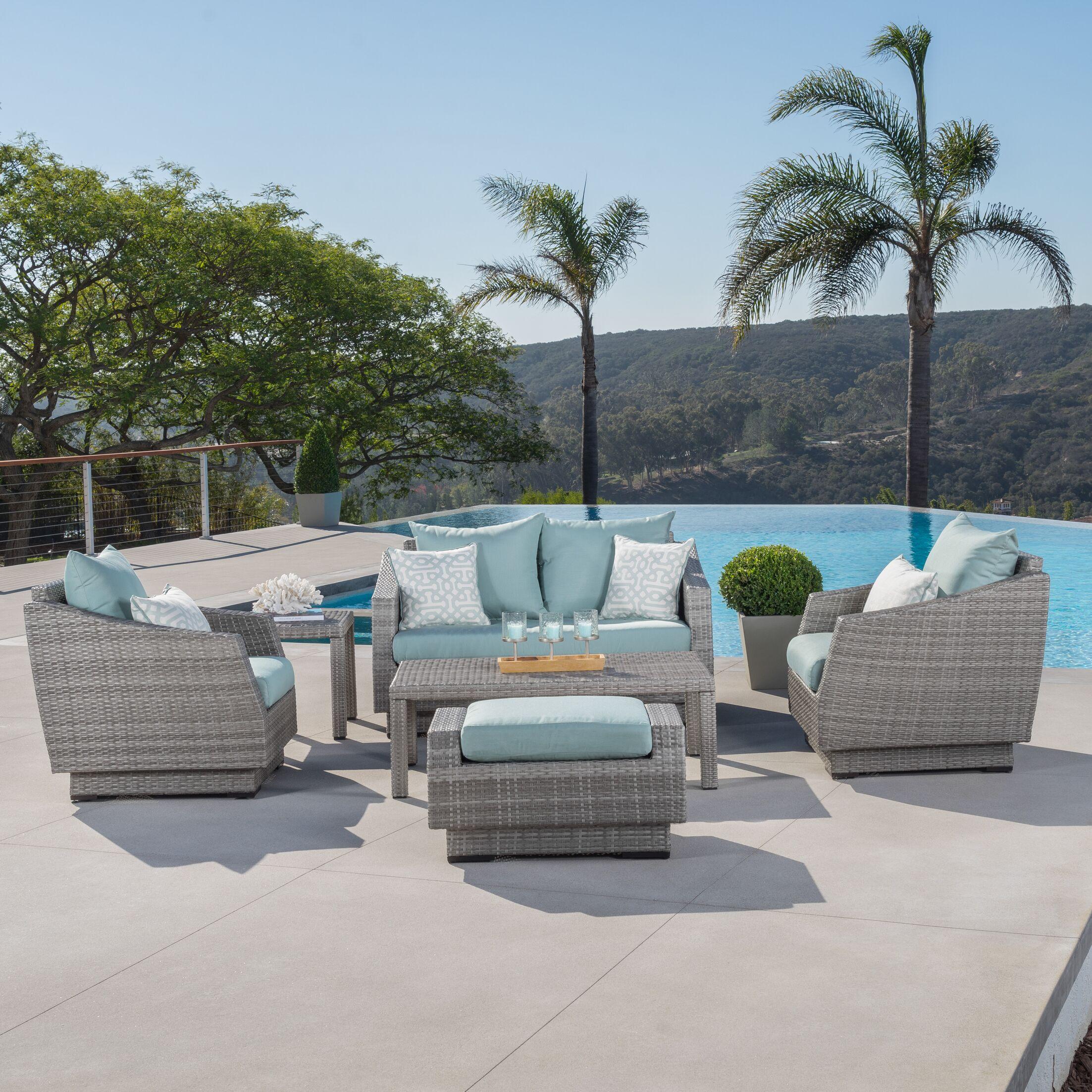 Castelli 6 Piece Sofa Set with Cushions Fabric: Spa Blue