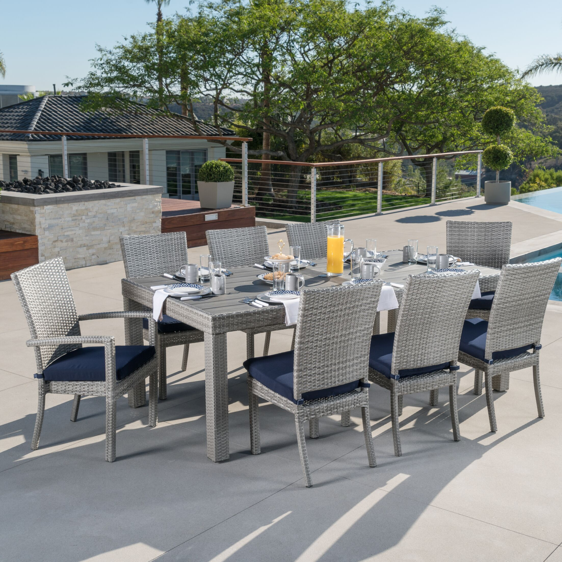 Castelli 9 Piece Sunbrella Dining Set with Cushions Color: Navy