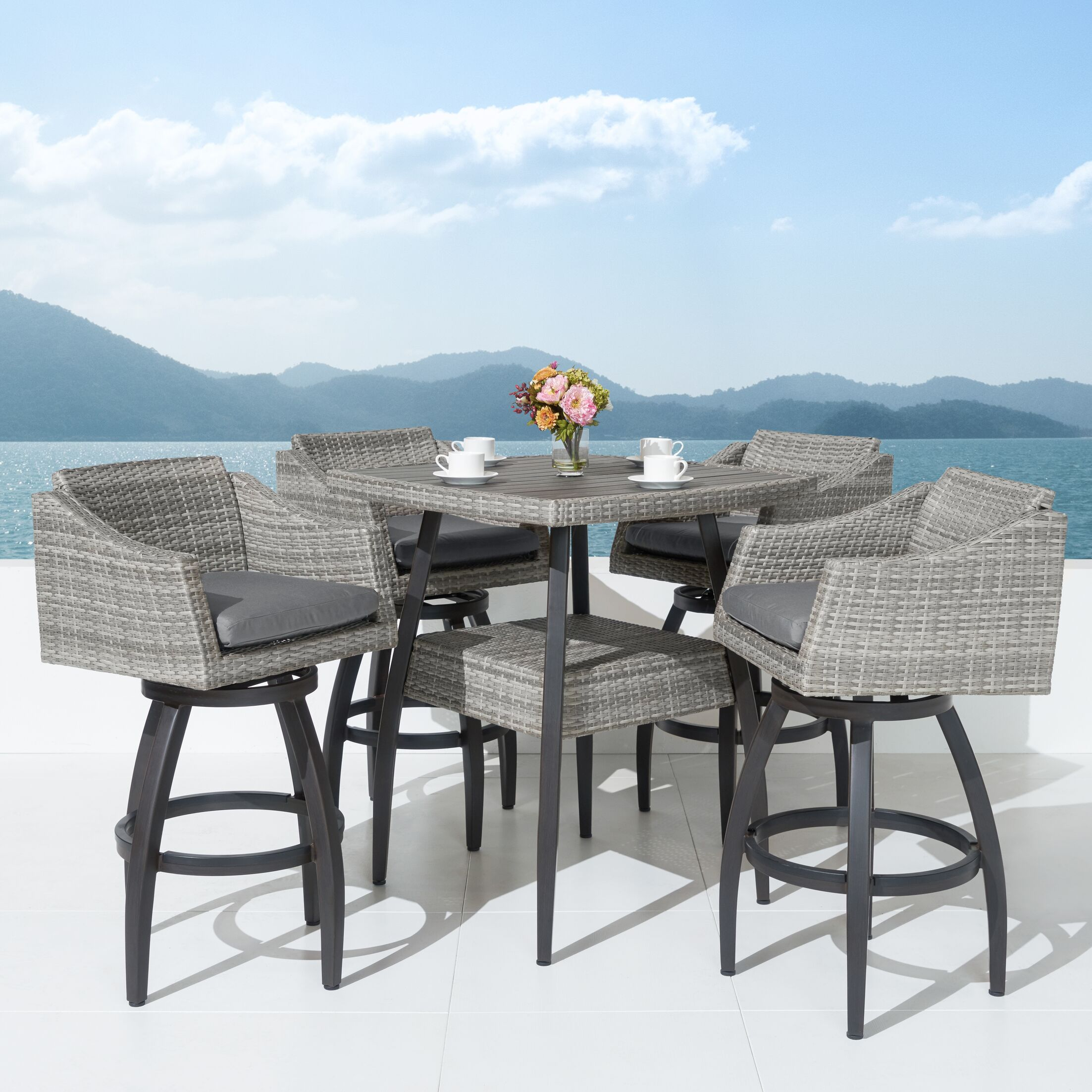 Castelli 5 Piece Bar Height Dining Set Cushion Color: Charcoal Grey