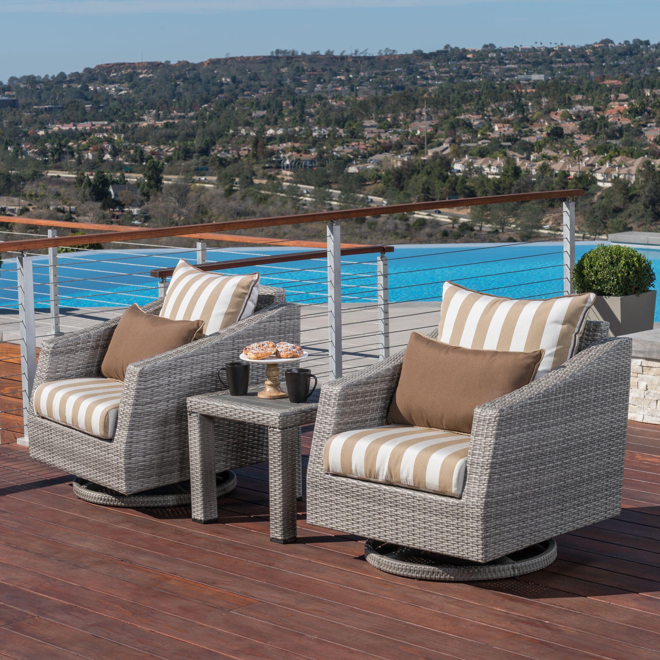 Greenfield Deluxe 3 Piece Sunbrella Conversation Set with Cushions Fabric: Maxim Beige