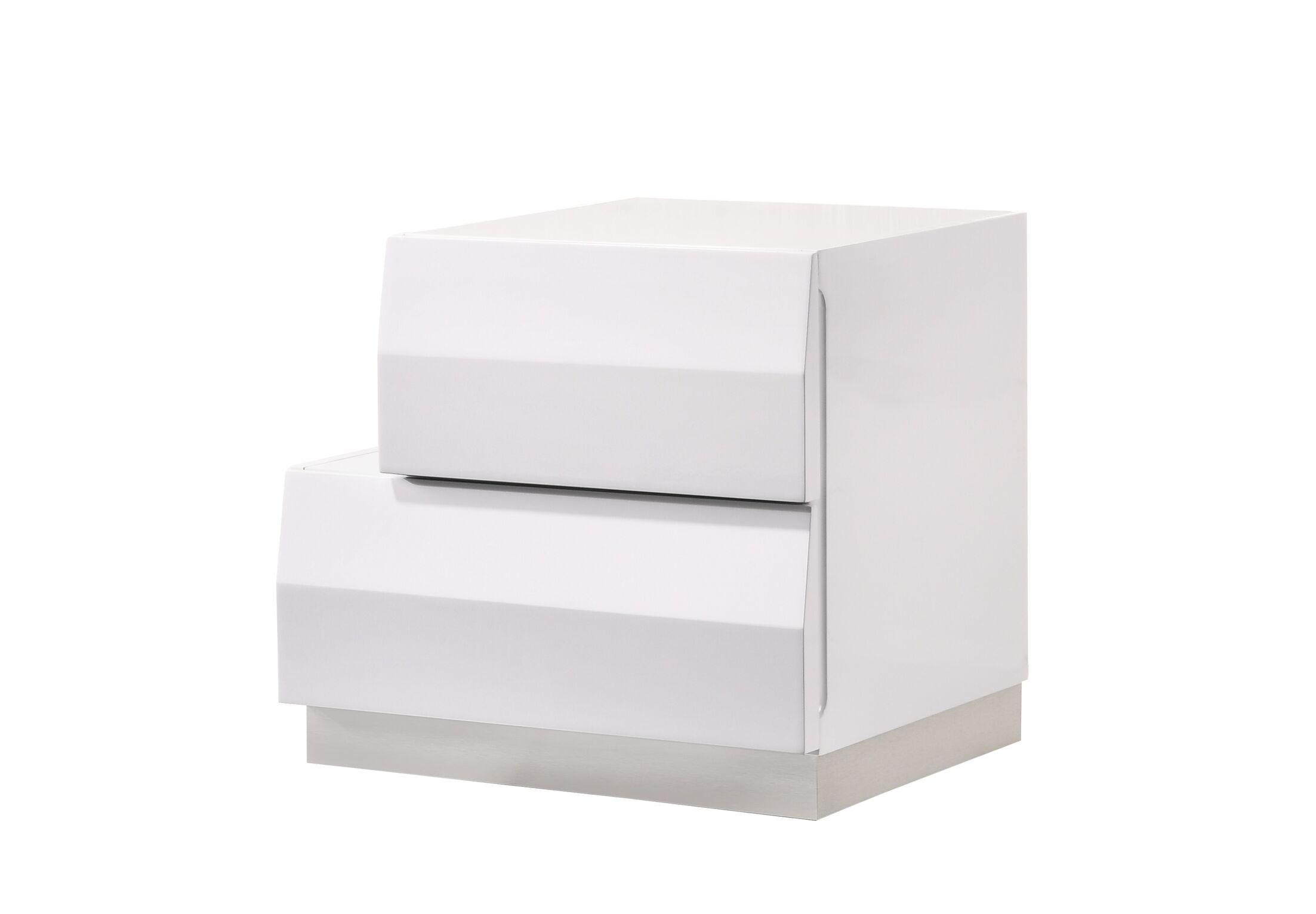 Matt 2 Drawer Nightstand Color: White, Orientation: Left-Facing