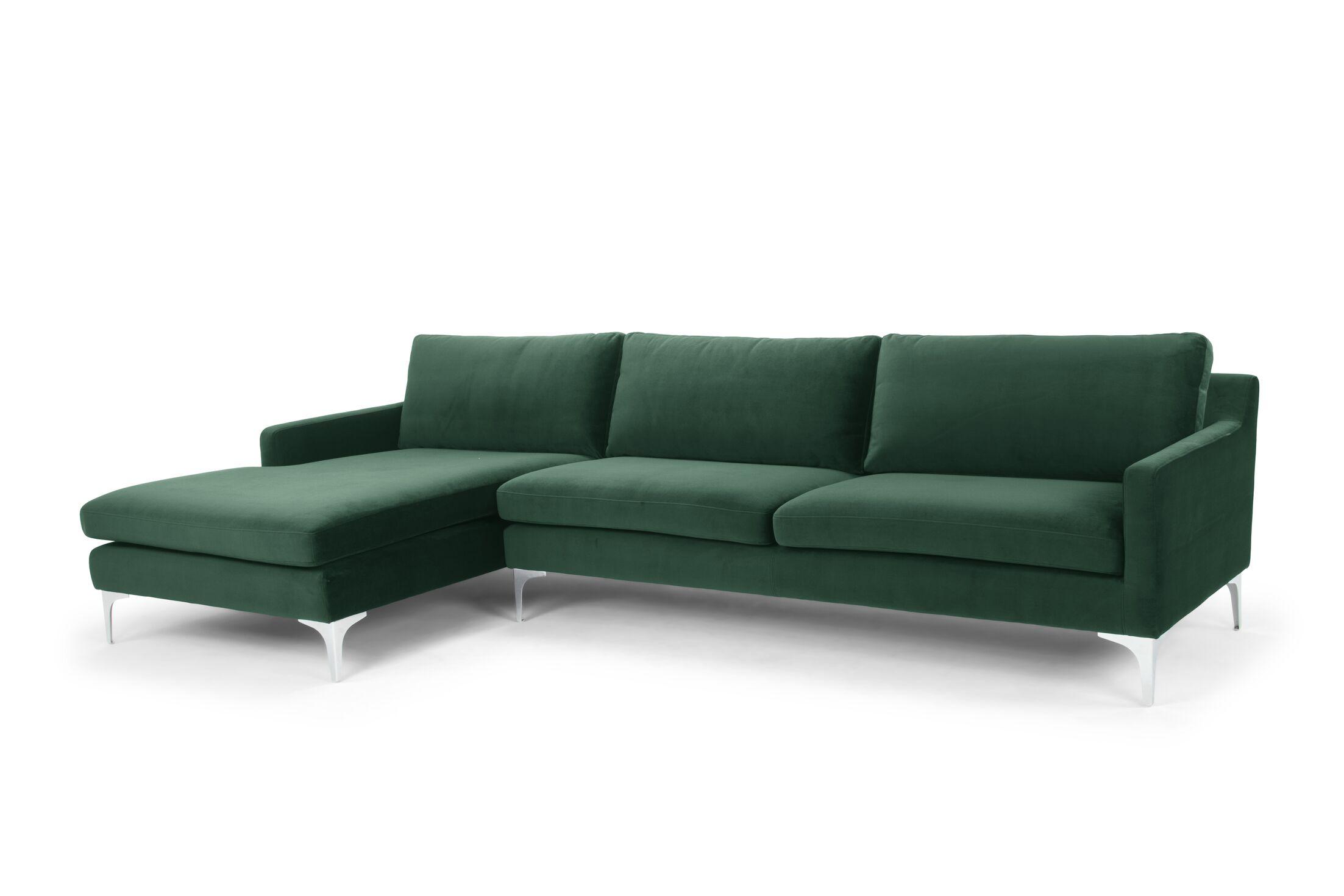 Bridgeton Sectional Orientation: Left Hand Facing, Upholstery: Green Velvet