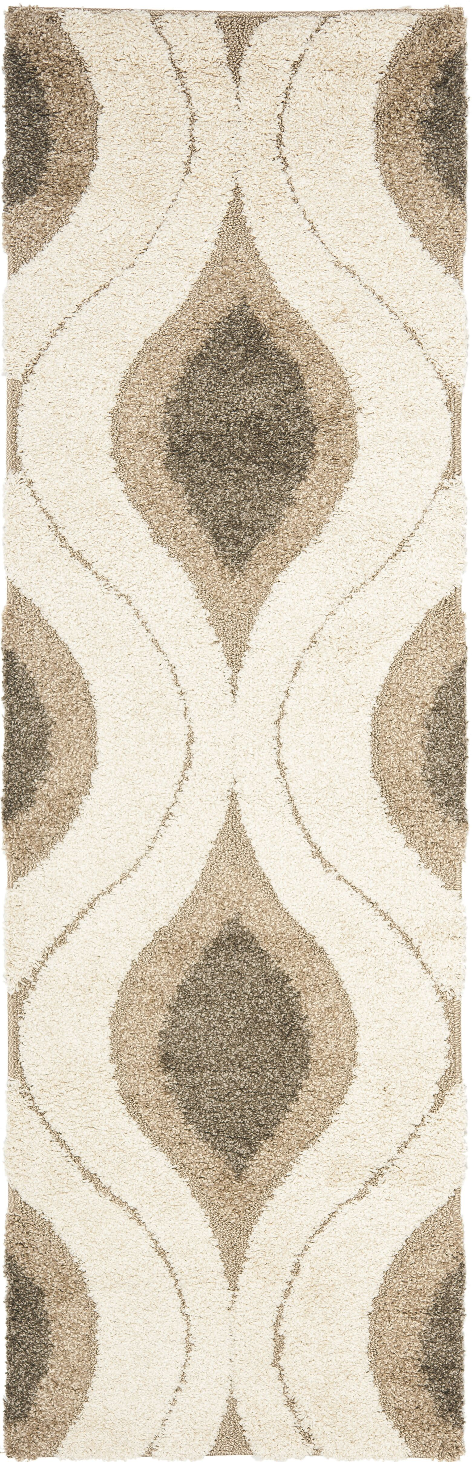 Fulton Cream/Smoke Shag Area Rug Rug Size: Runner 2'3