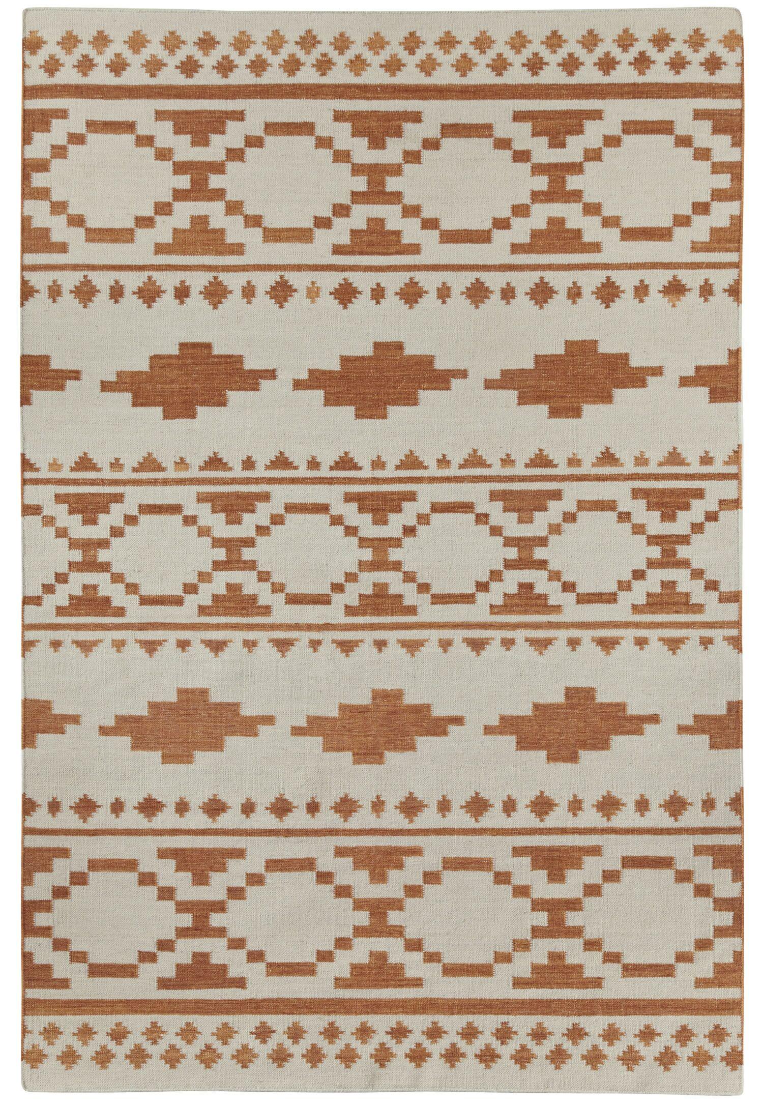 Estio Off-White/Brown Area Rug Rug Size: Rectangle 7' x 9'