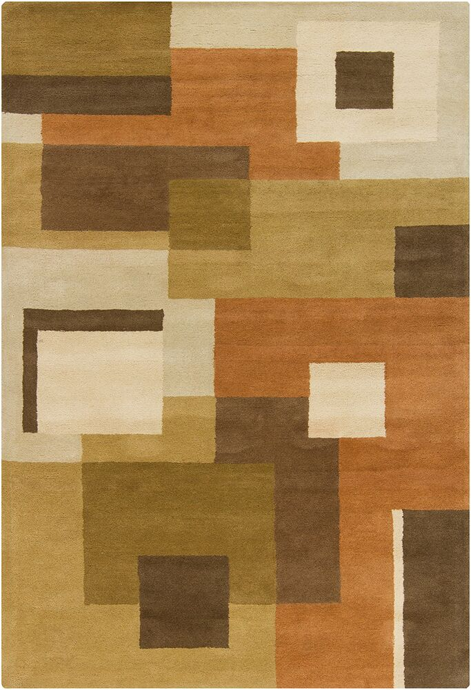 Quinney Hand Tufted Wool Brown/Green Area Rug