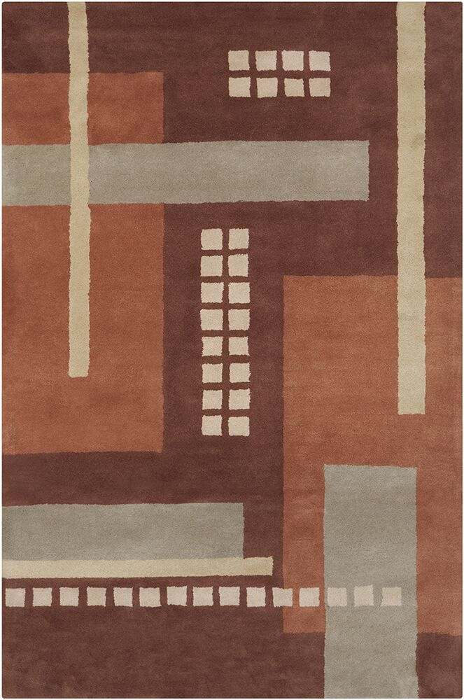 Quinney Hand Tufted Wool Brown/Gray Area Rug