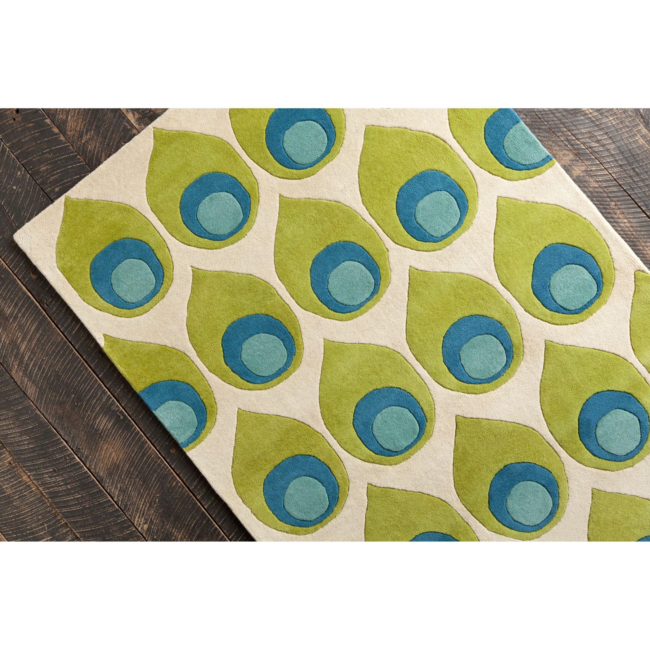 Willa Hand Tufted Wool Green/Blue Area Rug Rug Size: 5' x 7'6