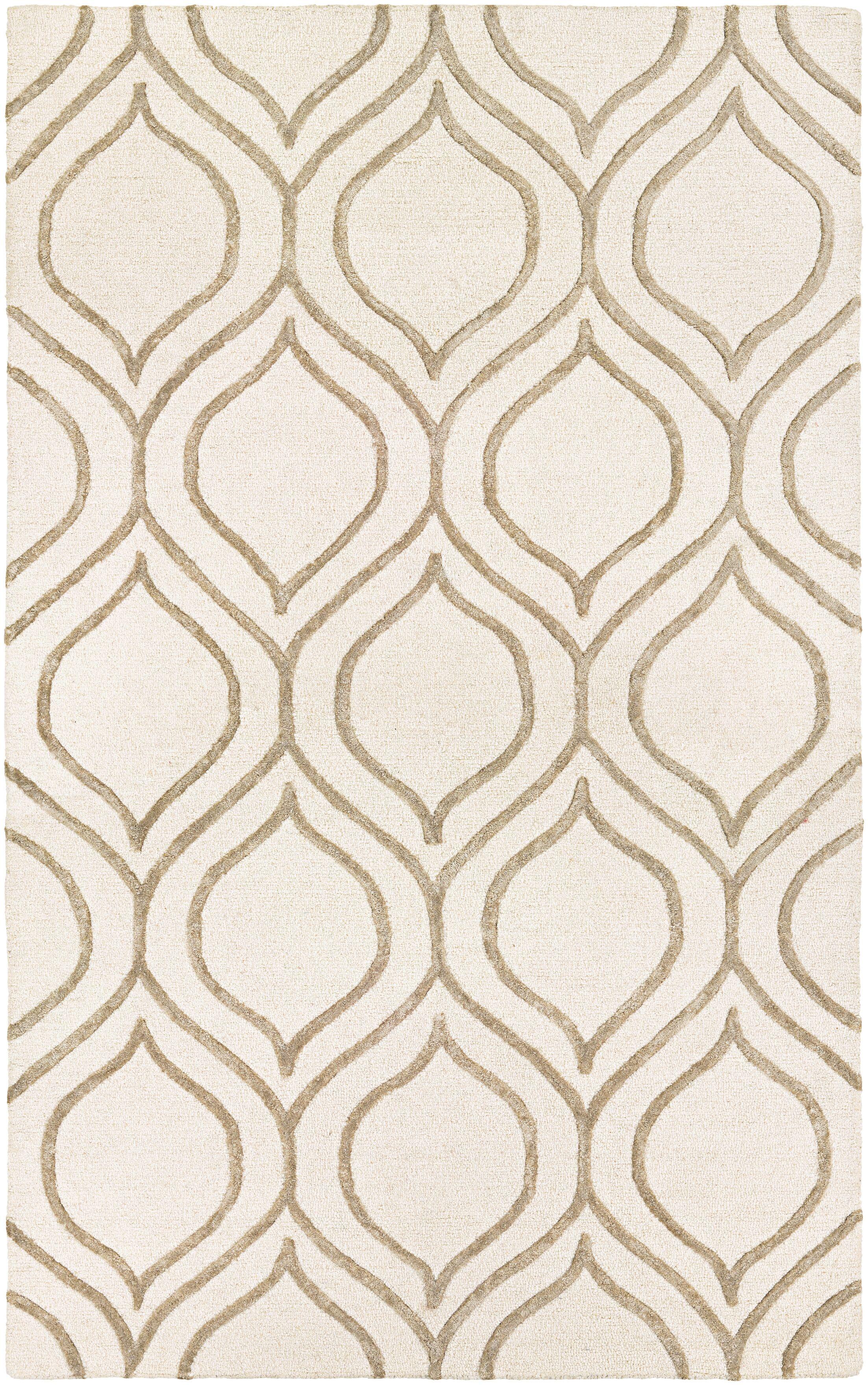 Devorah Hand-Woven Ivory/Gray Area Rug Rug Size: Rectangle 3'6