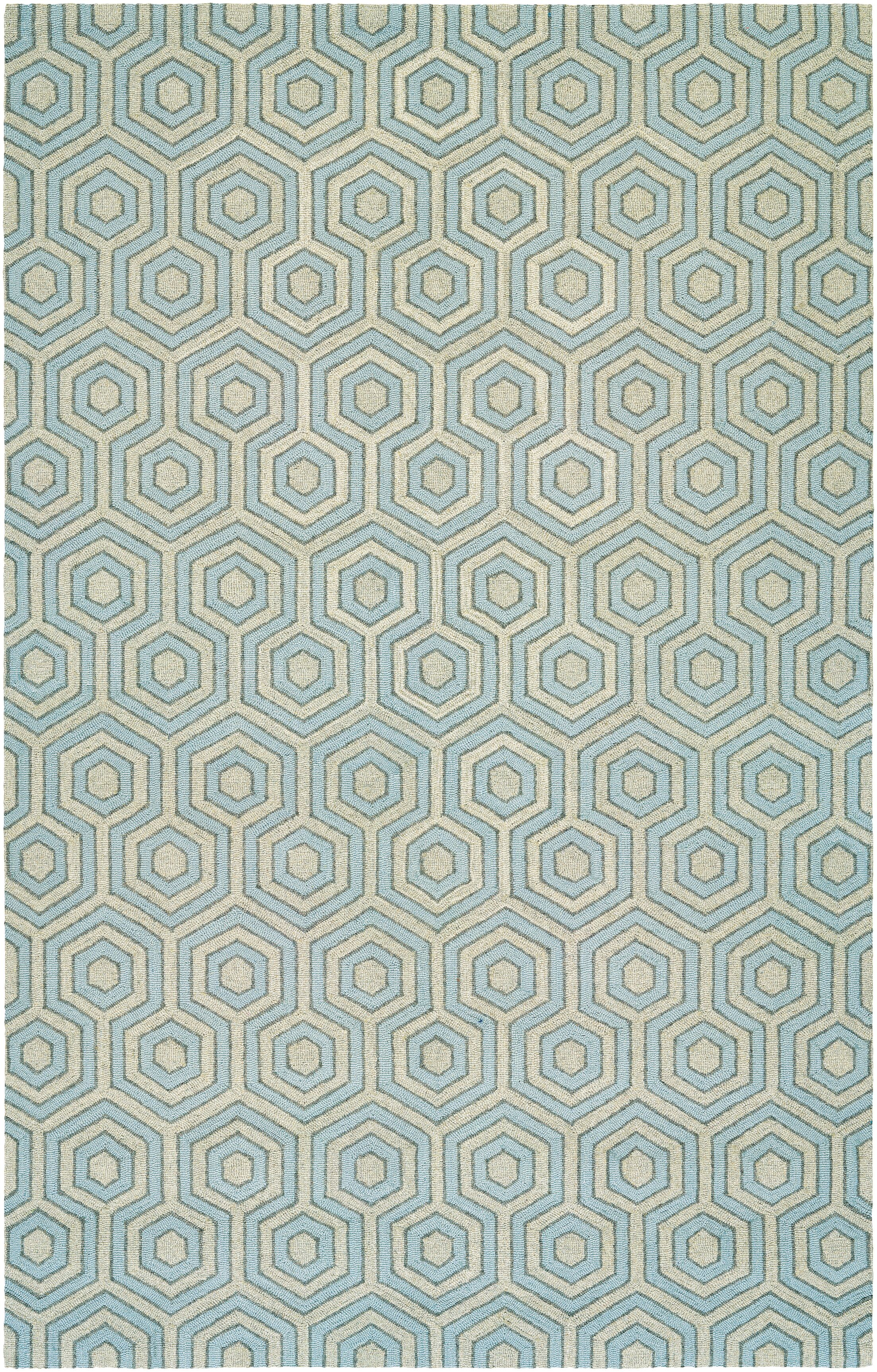 Atticus Hand-Woven Gray/Blue Area Rug Rug Size: Rectangle 9'6