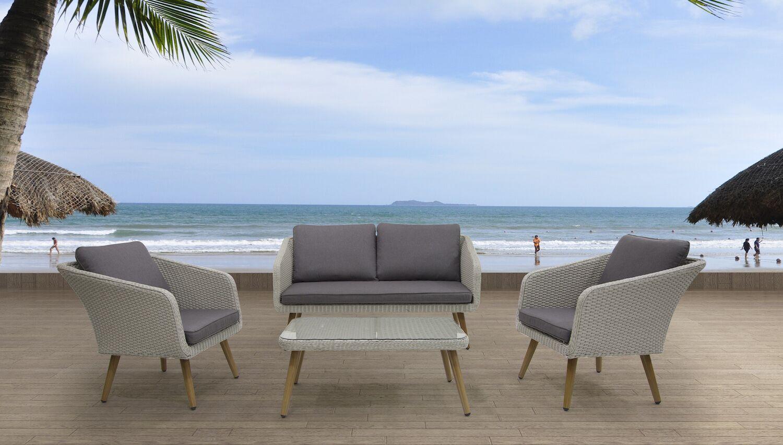 Tenley 4 Piece Sofa Set with Cushions