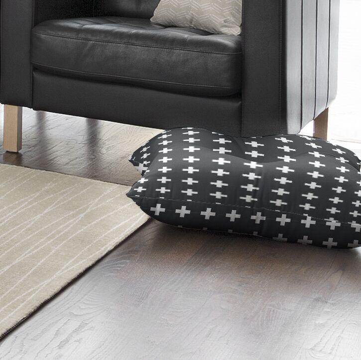 Emerie Cross Outdoor Floor Pillow Size: 26