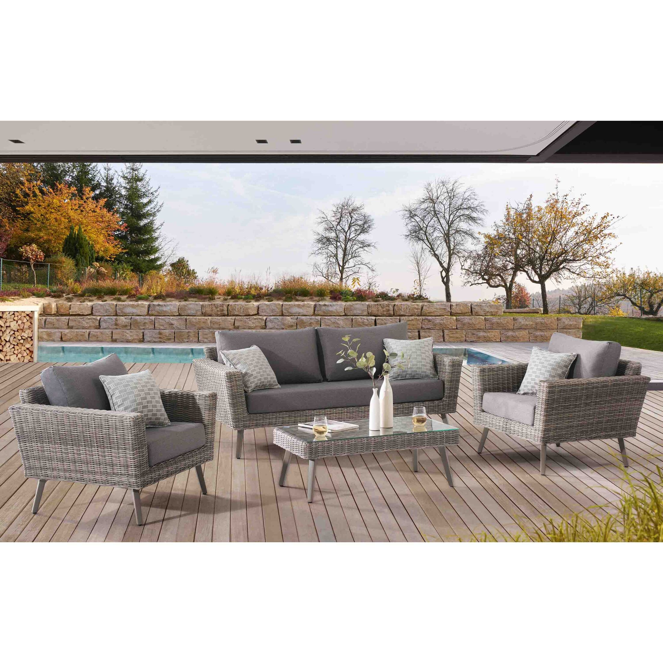 Kona Grove 4 Piece Sofa Set with Cushions