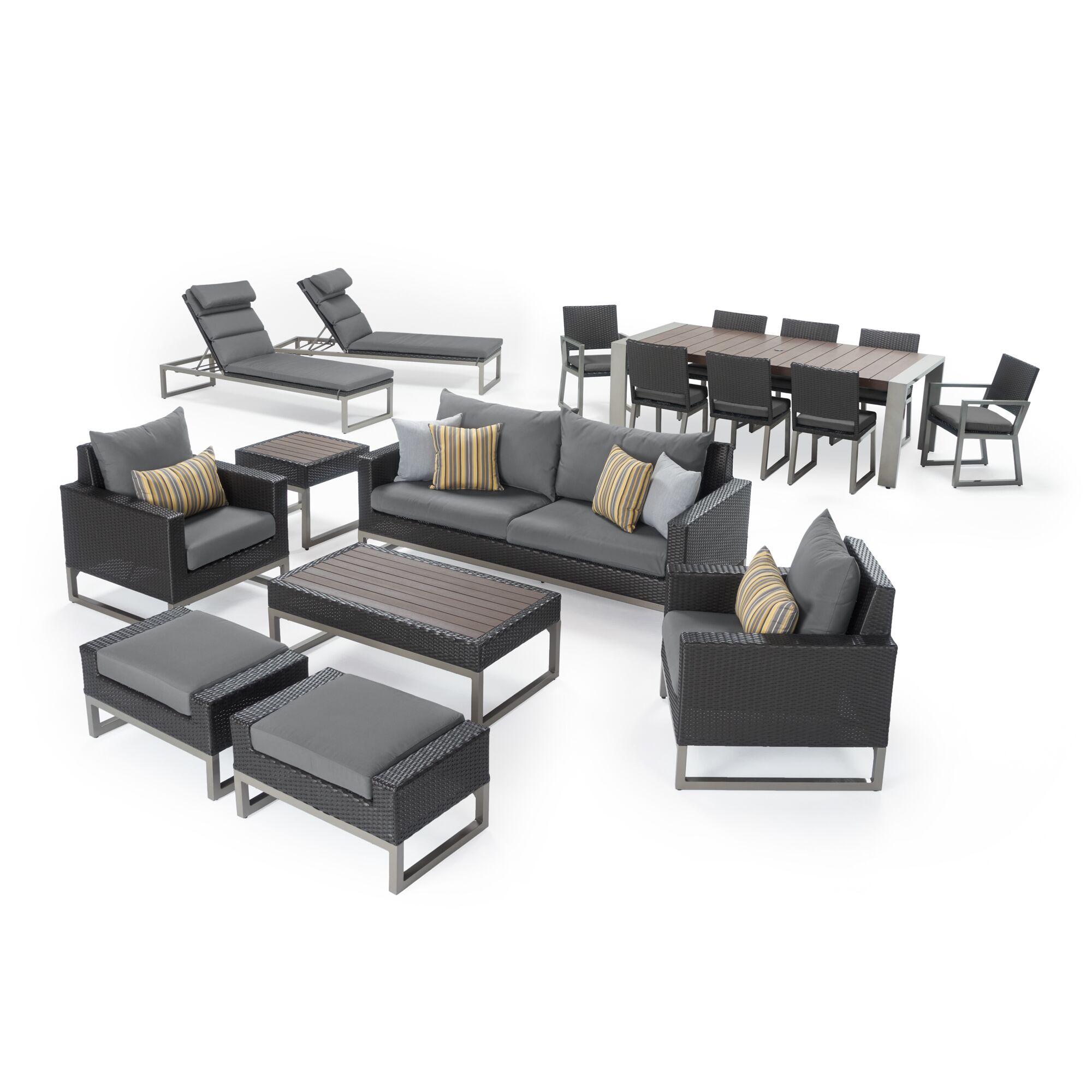 Gary 18 Piece Rattan Sunbrella Conversation Set with Cushions Cushion Color: Charcoal Gray, Frame Finish: Espresso