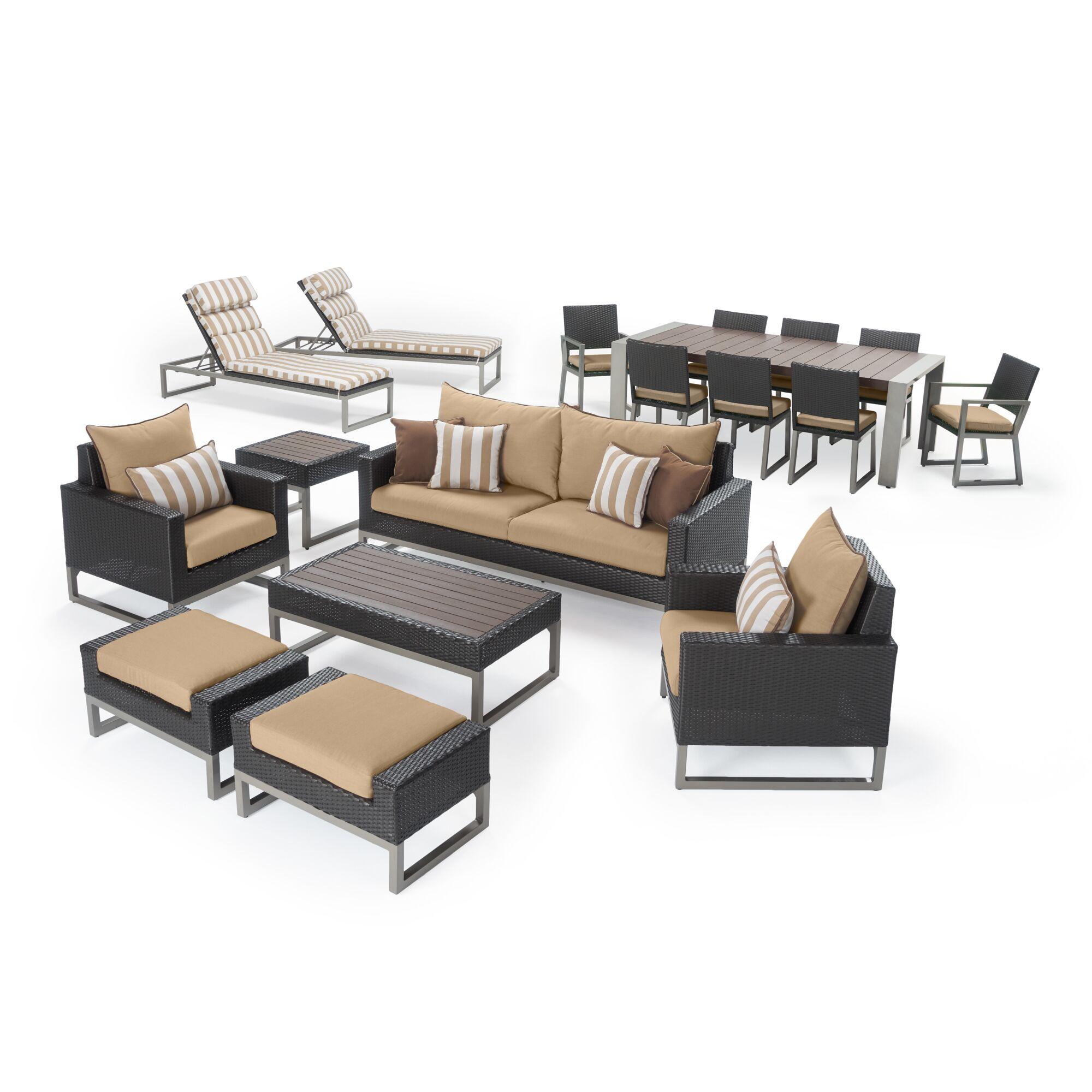 Gary 18 Piece Rattan Sunbrella Complete Patio Set with Cushions Frame Finish: Espresso