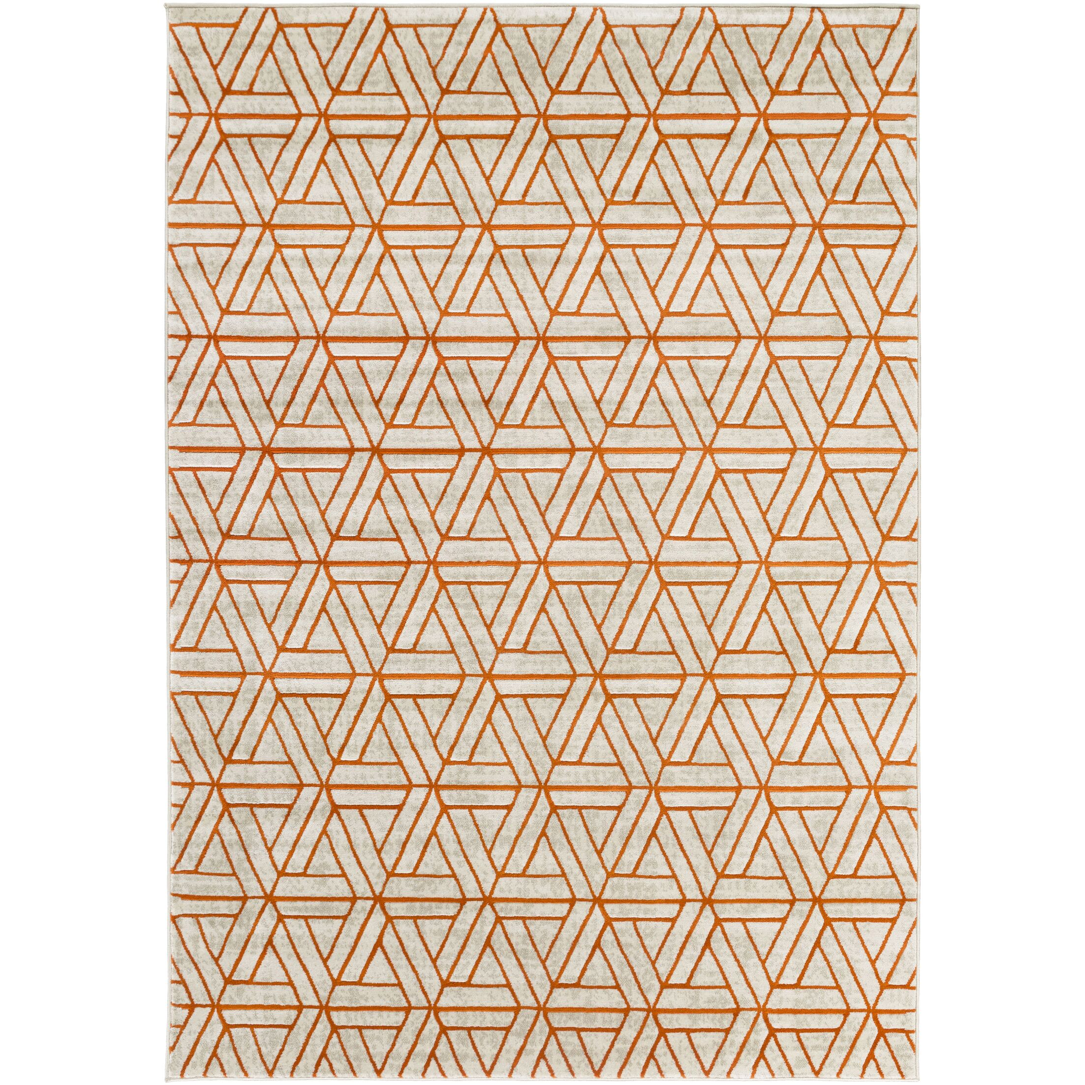 Ginsberg Light Gray/Burnt Orange Area Rug Rug Size: Rectangle 7'6