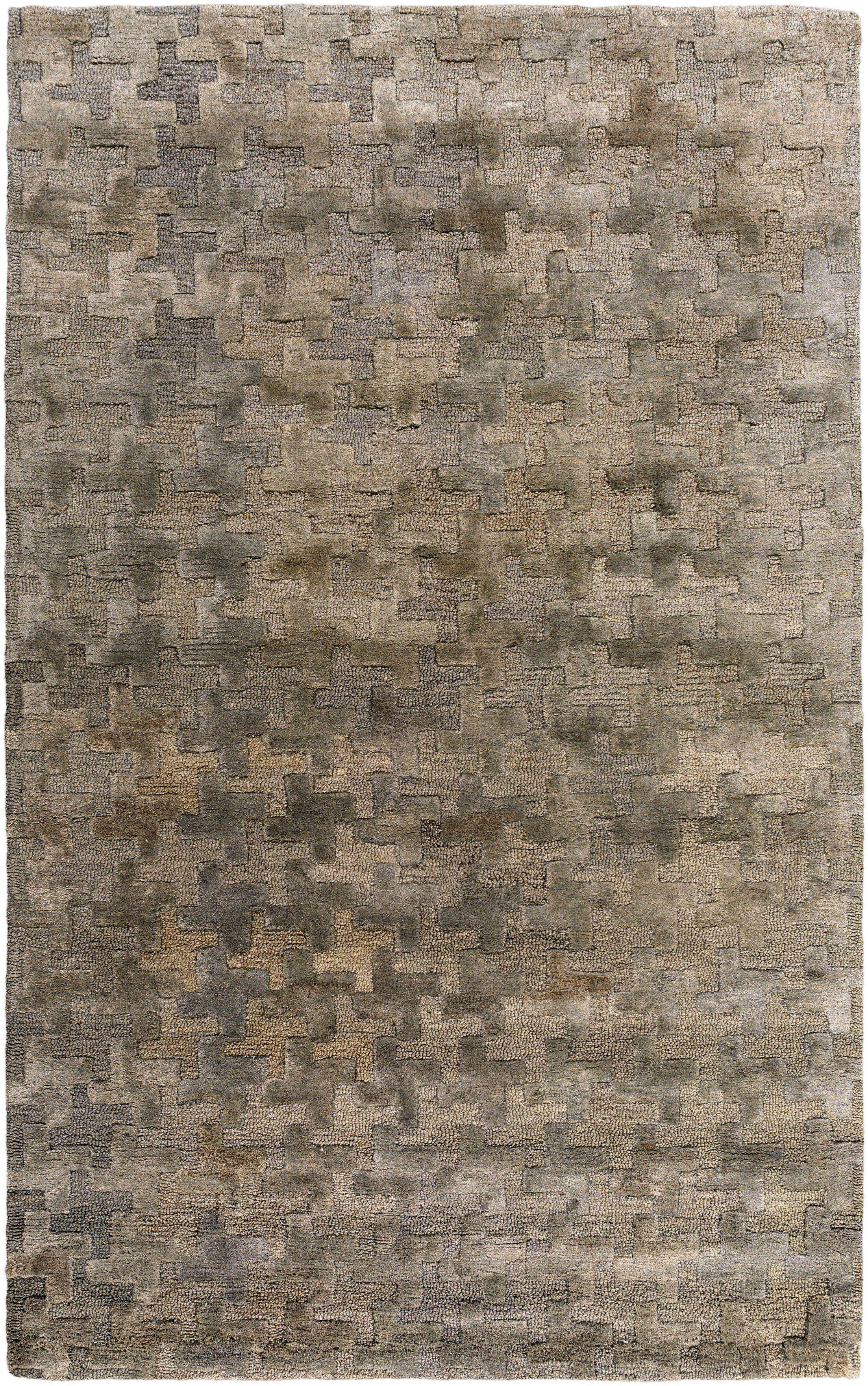 Tobias Hand-Woven Khaki Area Rug Rug Size: Rectangle 3' x 5'