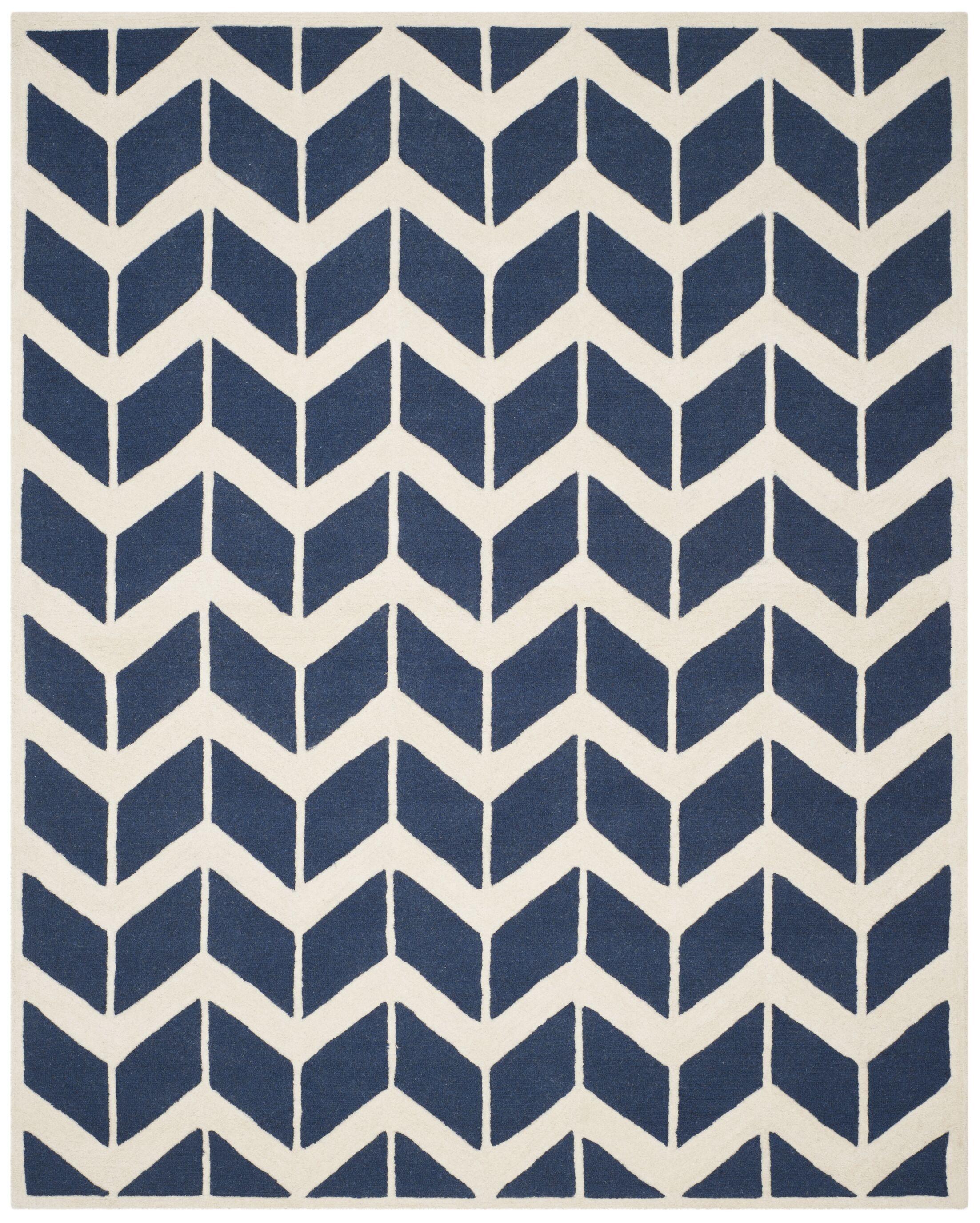 Esperance Navy / Ivory Area Rug Rug Size: Rectangle 8' x 10'