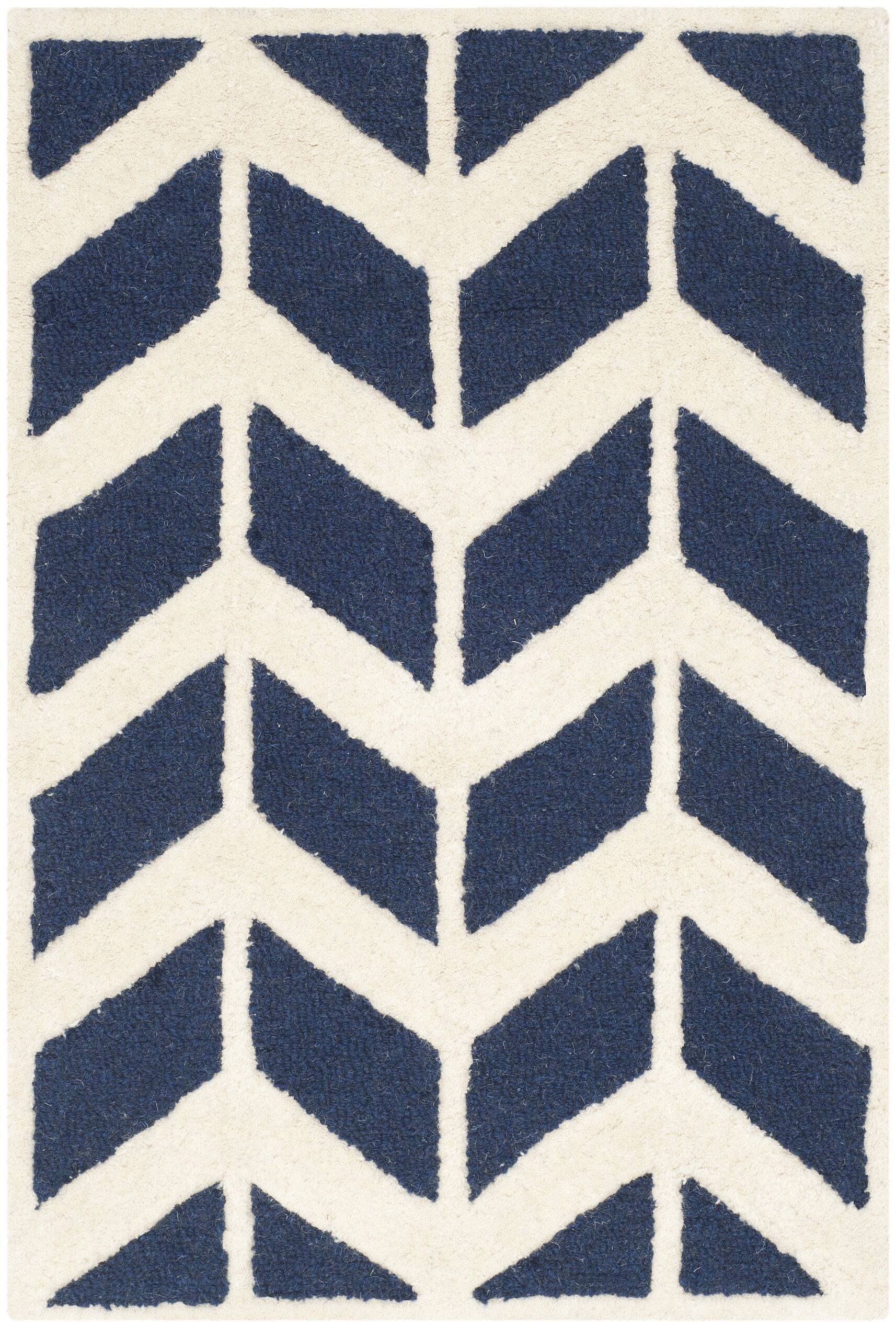 Esperance Navy / Ivory Area Rug Rug Size: Rectangle 2' x 3'