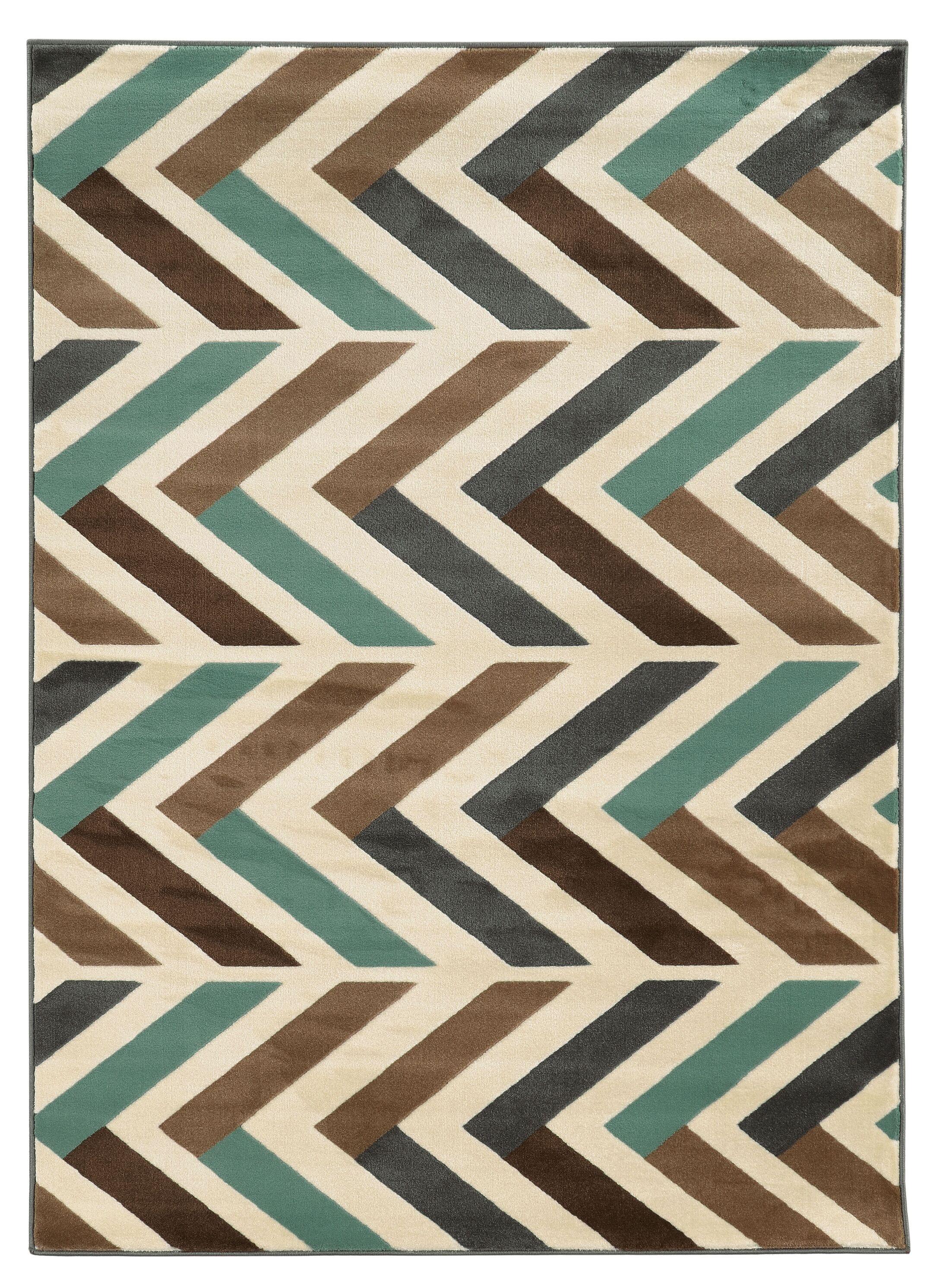 Halvard Ivory/Turquoise Area Rug Rug Size: Rectangle 5' x 7'