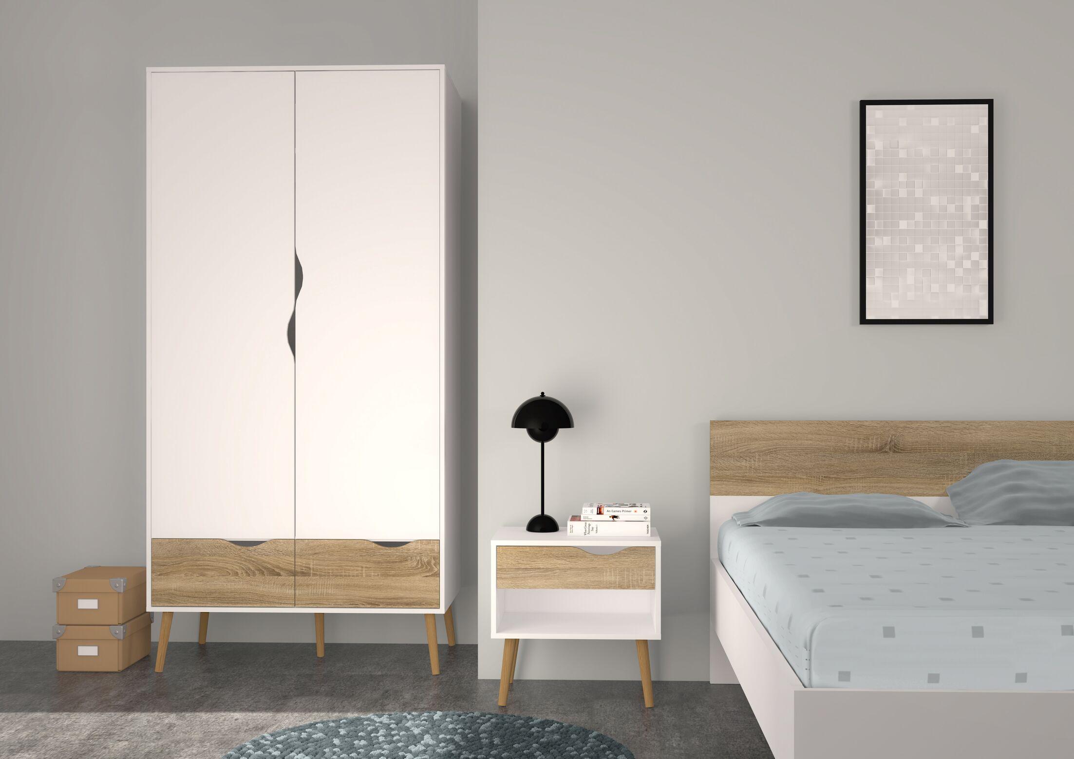 Mateer 2 Drawer and 2 Door Armoire Finish: White/Oak