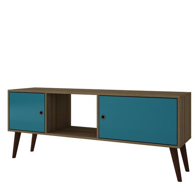 Oxnard TV Stand Color: Oak/Aqua
