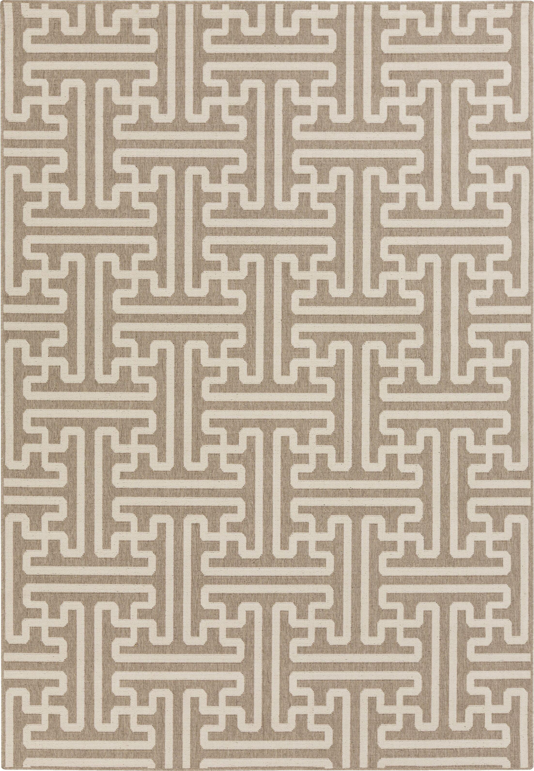 Borquez Camel / Cream Outdoor Area Rug Rug Size: Rectangle 6' x 9'