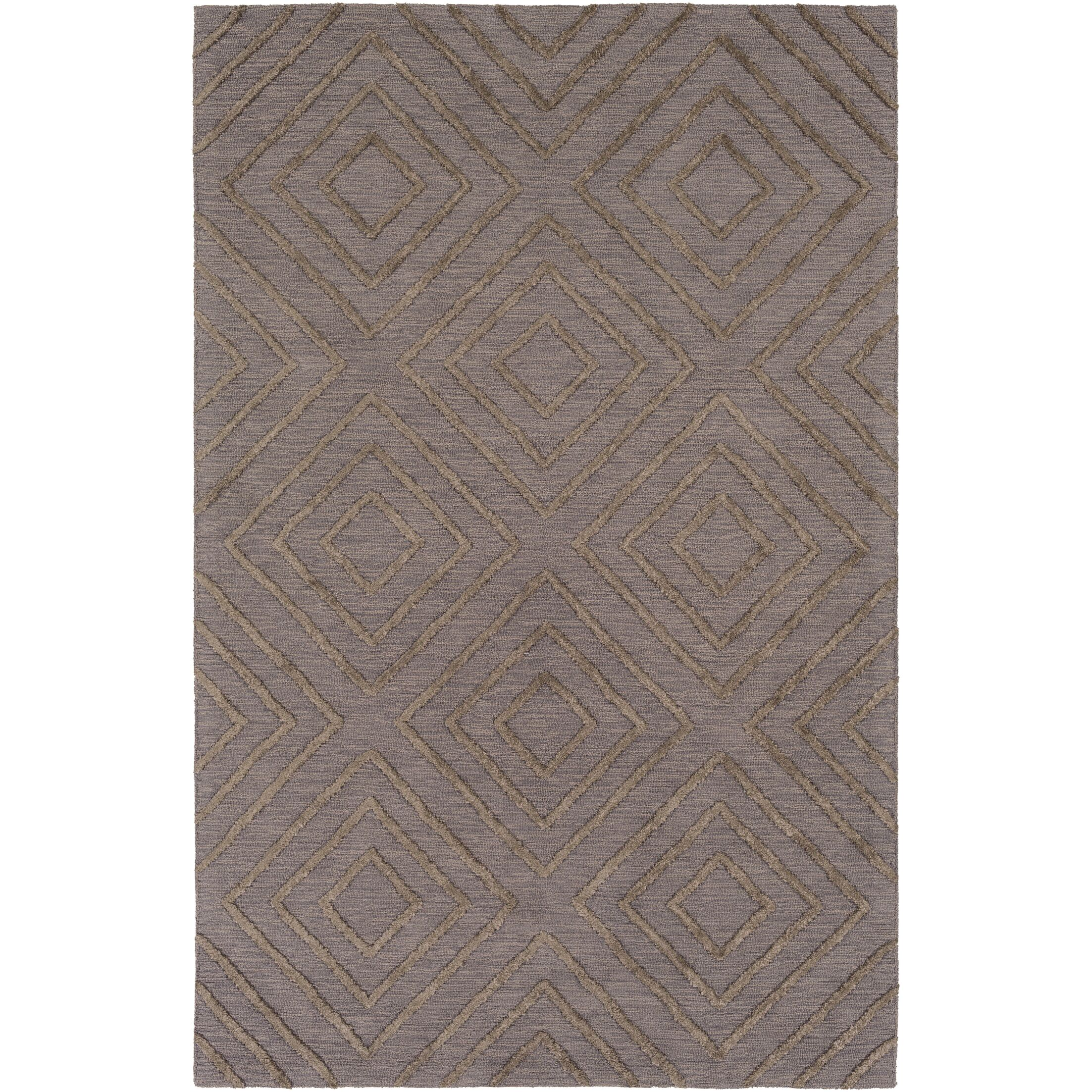 Berkeley Hand-Hooked Taupe/Black Area Rug Rug Size: Rectangle 8' x 10'
