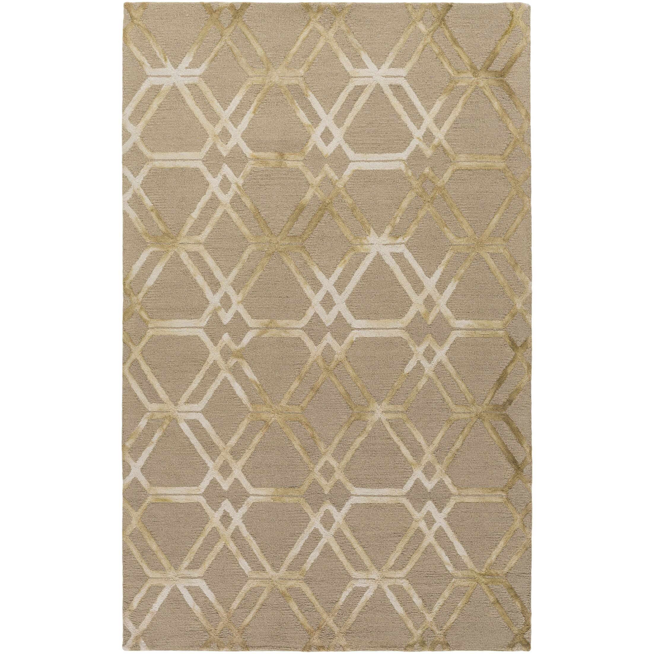Viminal Hand-Hooked Khaki Area Rug Rug Size: Rectangle 4' x 6'
