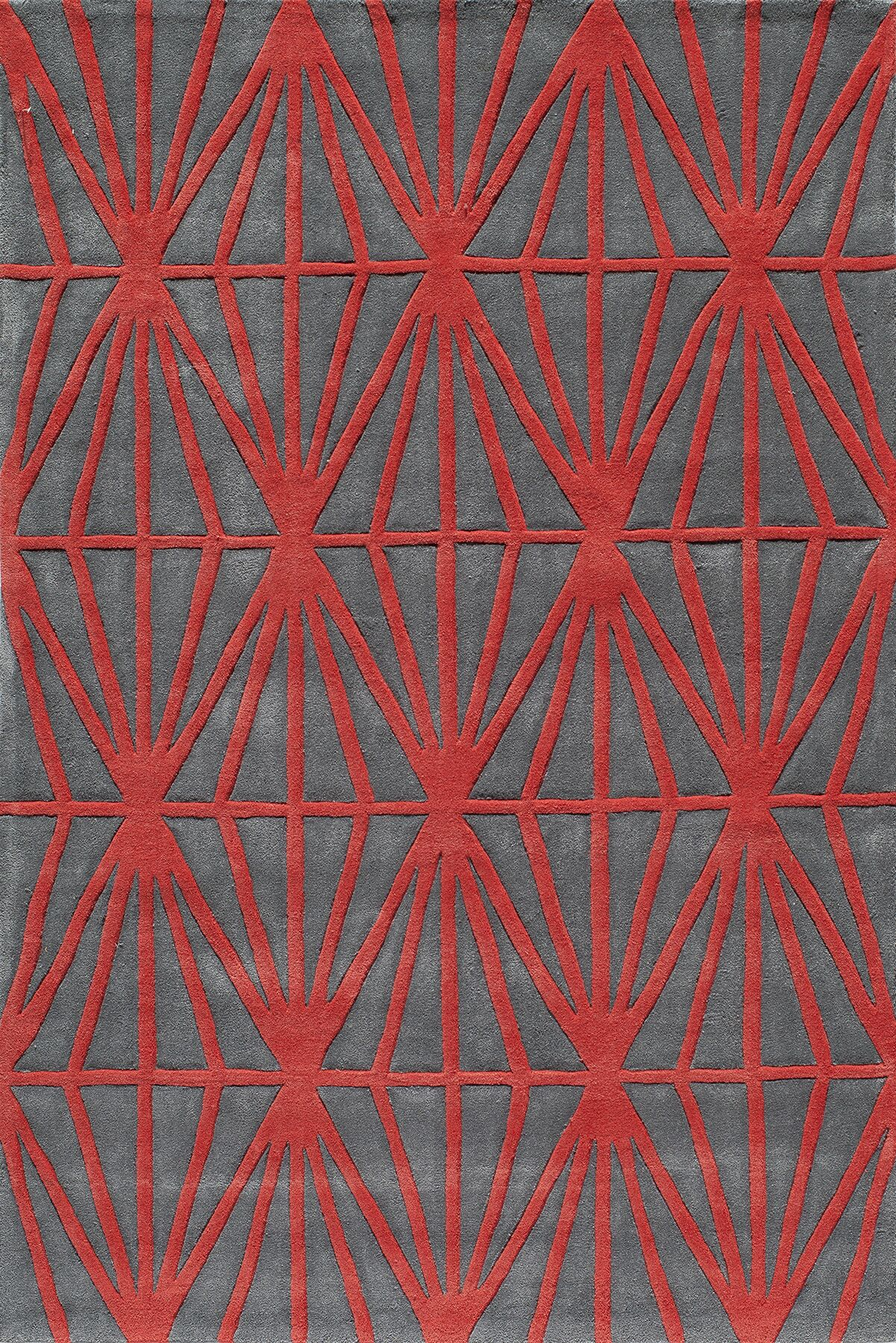 Fowler Hand-Tufted Red Tufted Rug Rug Size: Rectangle 3'6