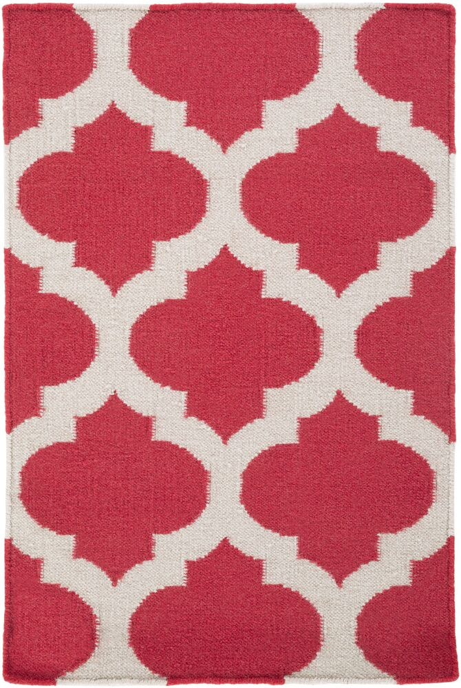 Hackbarth Hand-Woven Red/White Area Rug Rug Size: 3'6