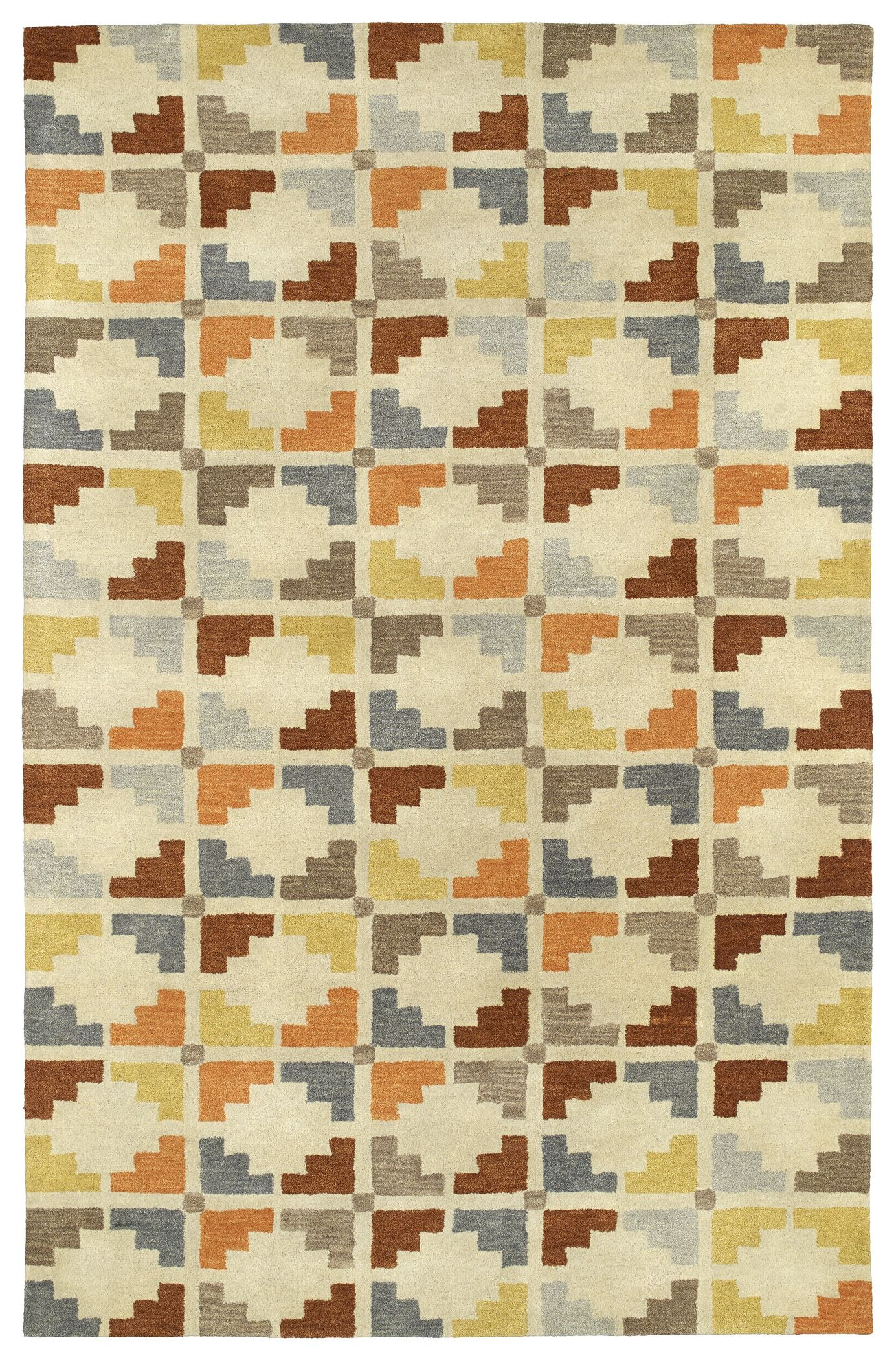 Dresden Hand Tufted Beige/Brown Area Rug Rug Size: Rectangle 5' x 7'9