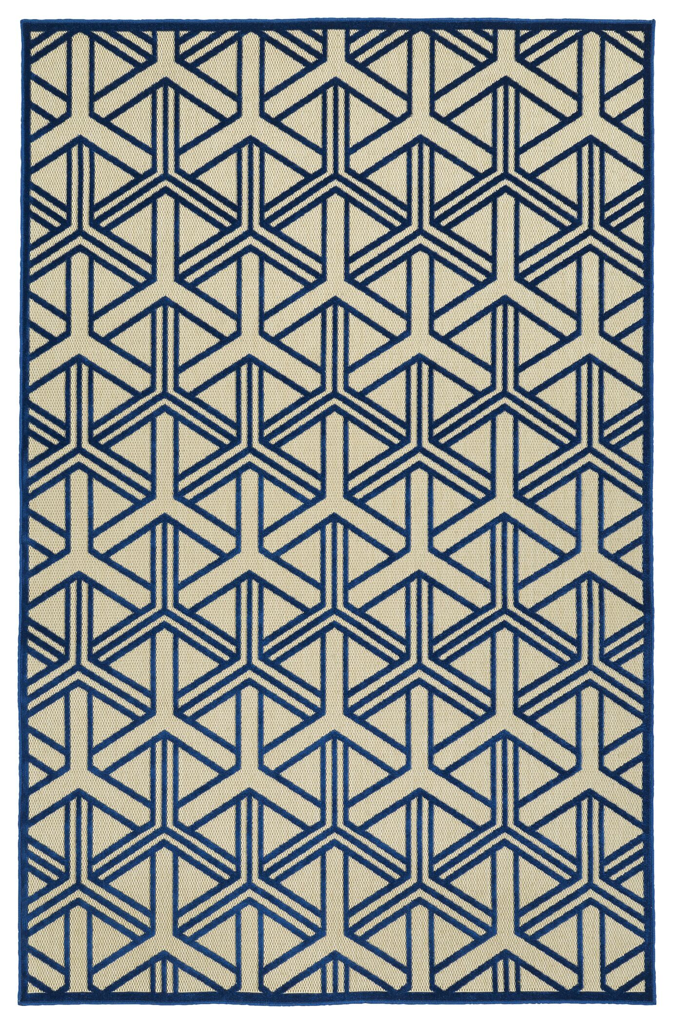 Alterson Machine Woven Navy/Cream Indoor/Outdoor Area Rug Rug Size: Rectangle 7'10