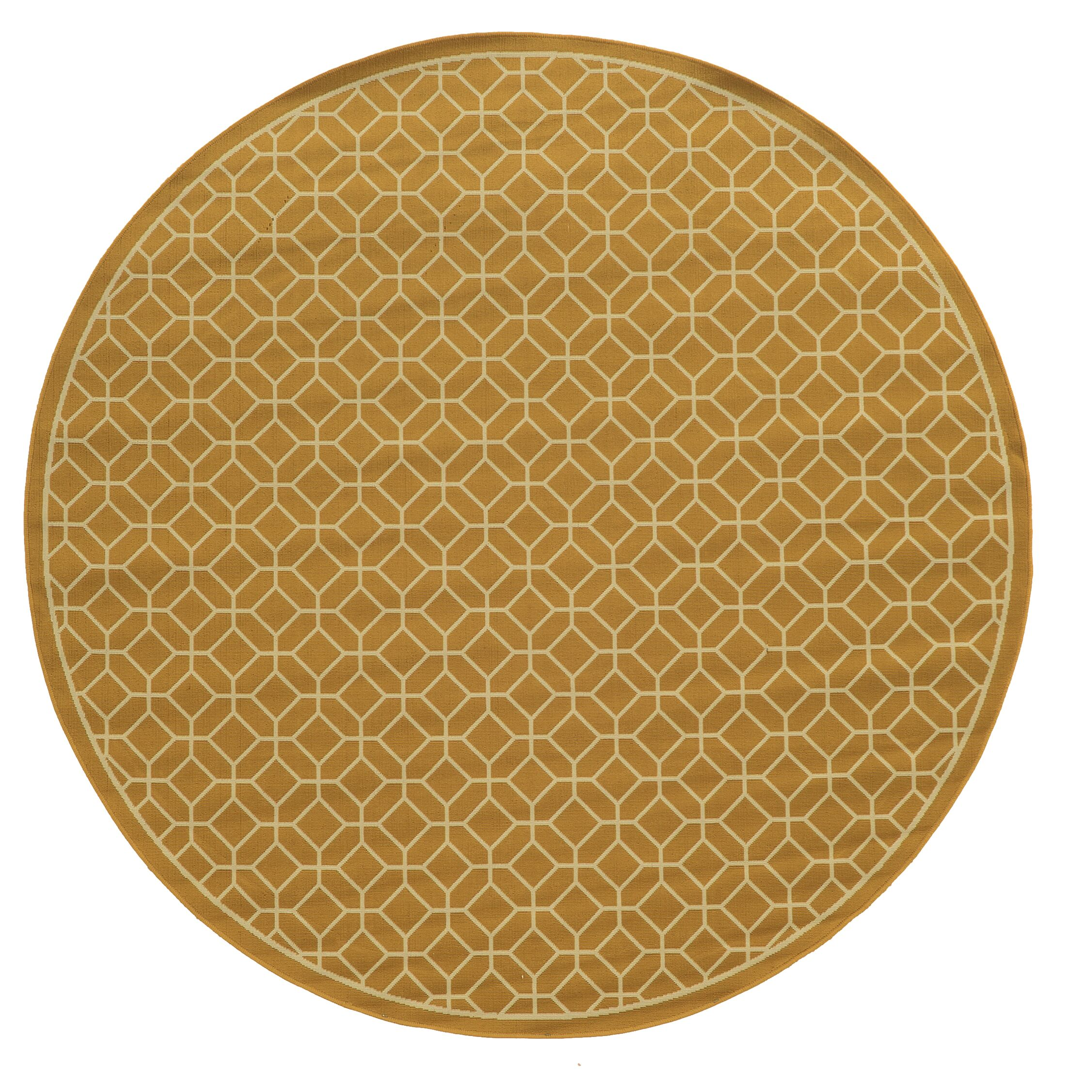 Liza Geometric Gold/Ivory Indoor/Outdoor Area Rug Rug Size: Round 7'10