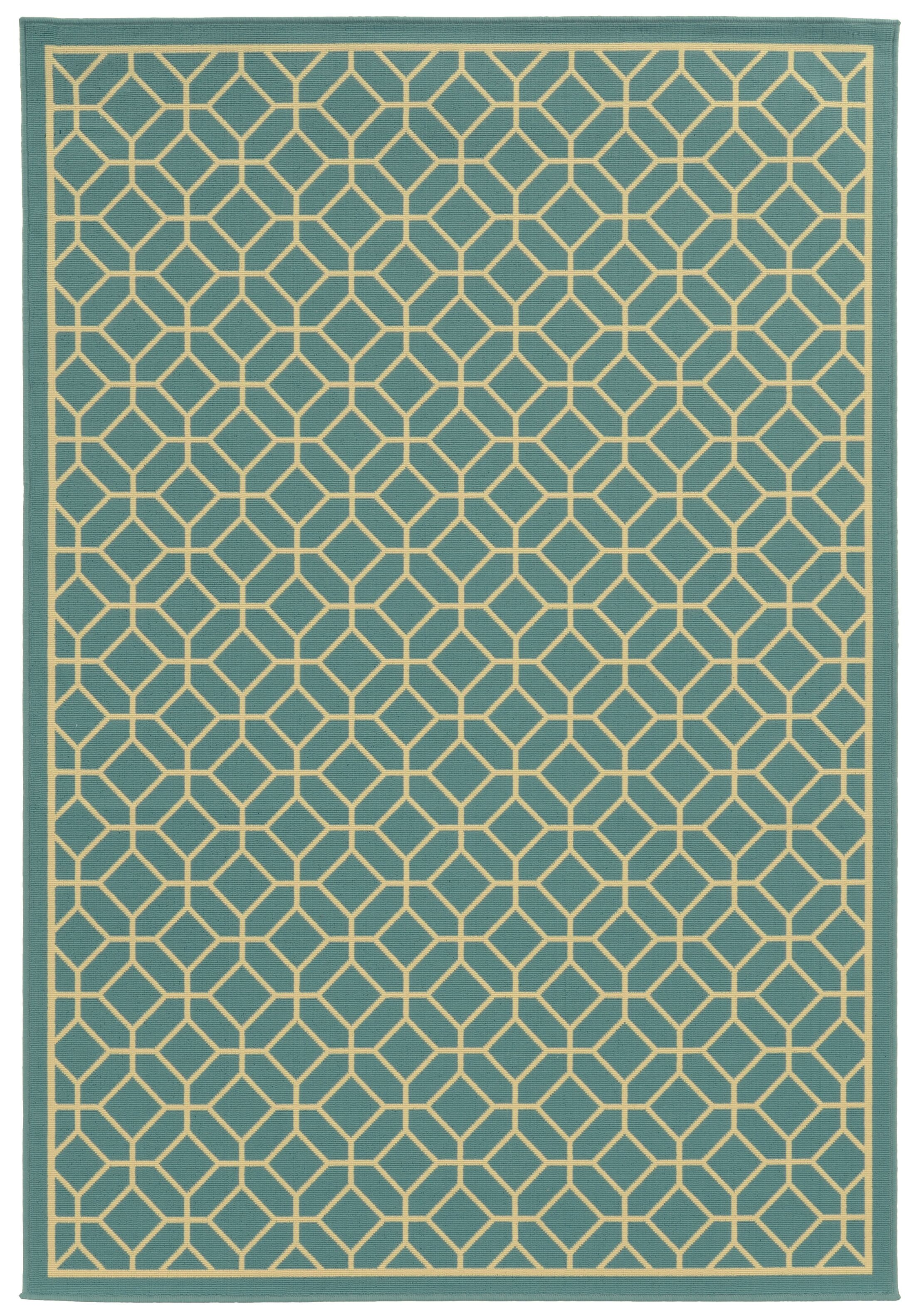 Liza Geometric Blue/Ivory Indoor/Outdoor Area Rug Rug Size: Rectangle 8'6