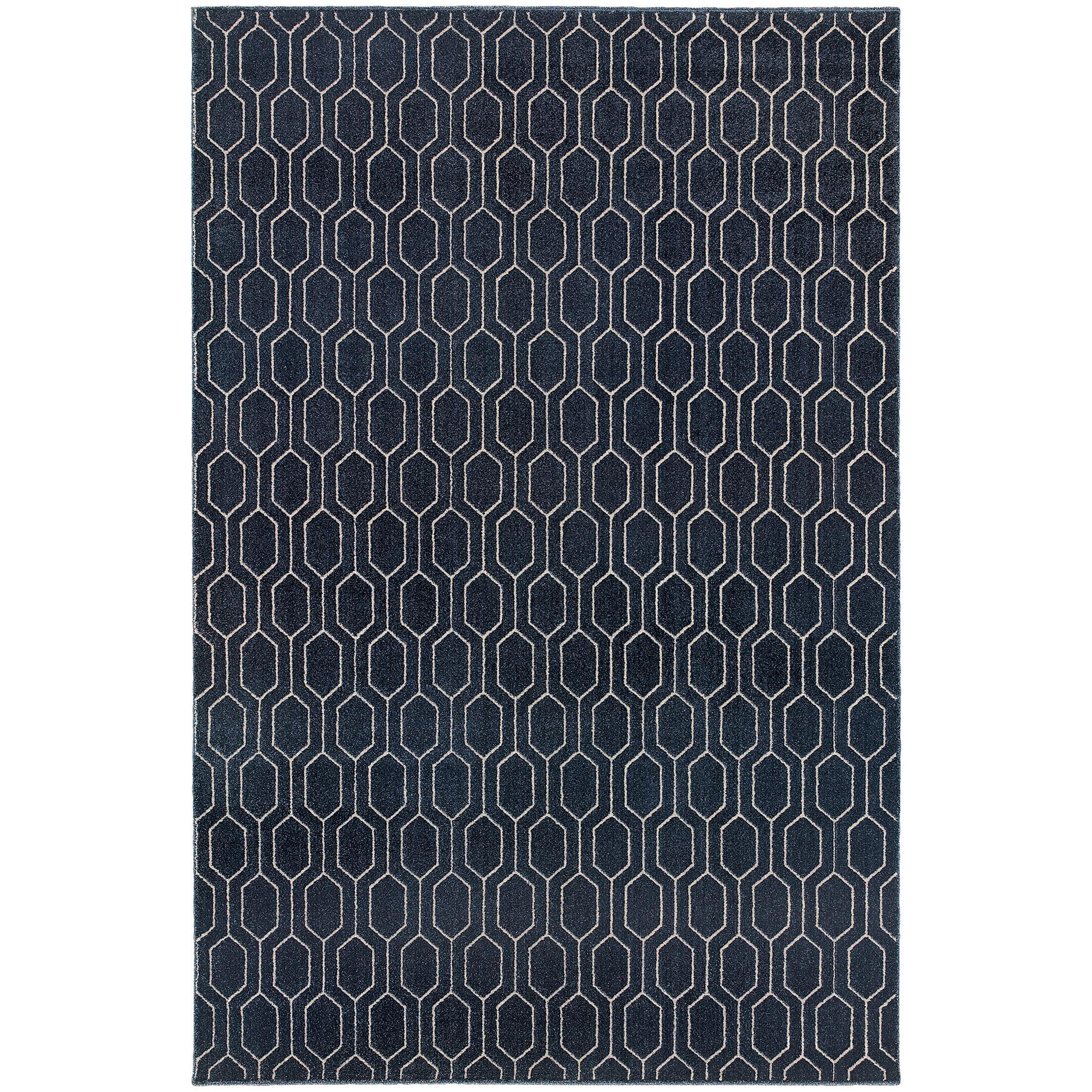 Oren Navy/Grey Area Rug Rug Size: Rectangle 6'7