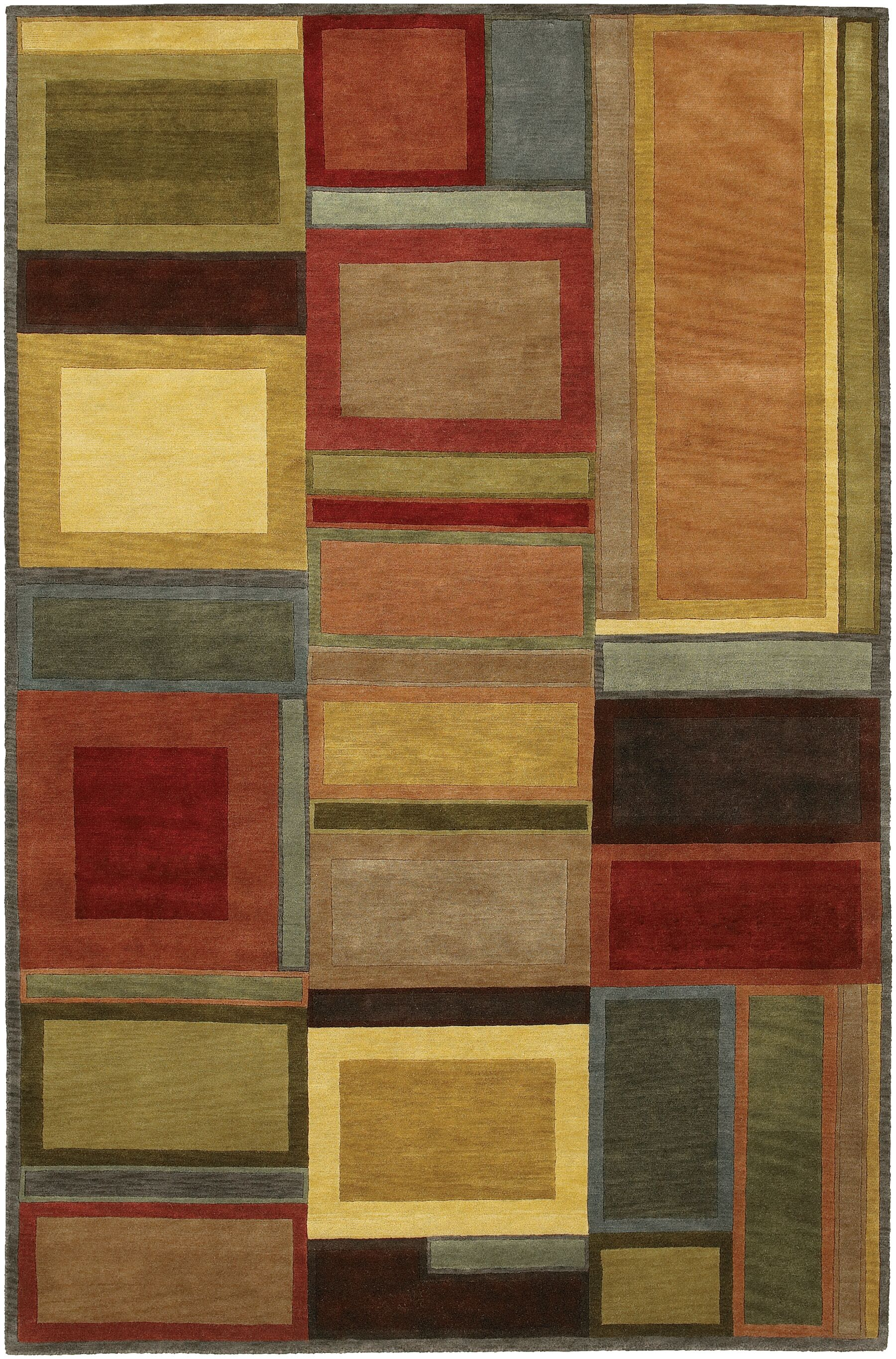 Quast Blocks Hand-Knotted Brown Area Rug