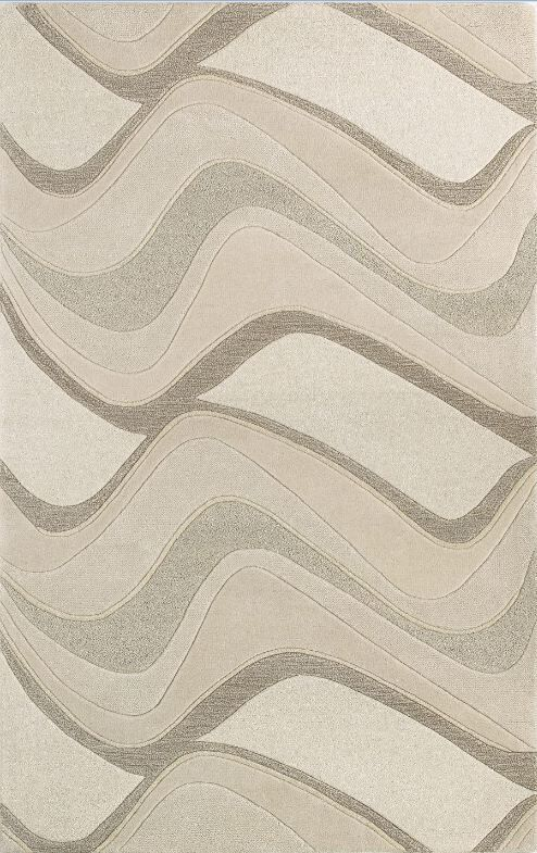 Cheston Ivory Waves Area Rug Rug Size: 3'3