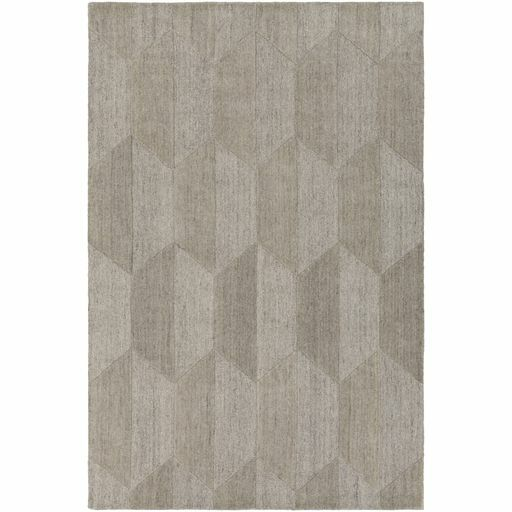 Beatrice Hand-Tufted White/Medium Gray Area Rug Rug Size: Rectangle 8' x 10'