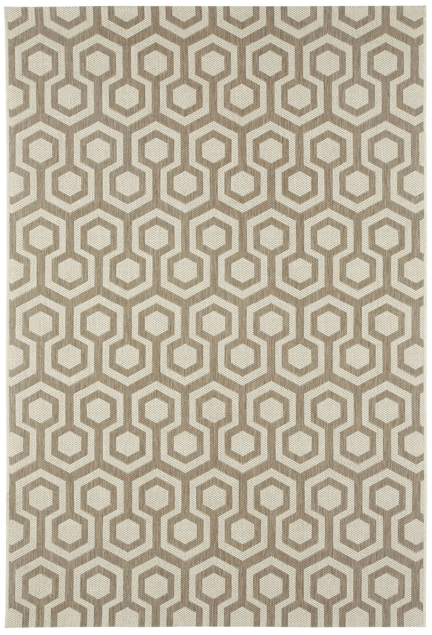 Malle Brown/Tan Honeycombs Indoor/Outdoor Area Rug Rug Size: Rectangle 5'3