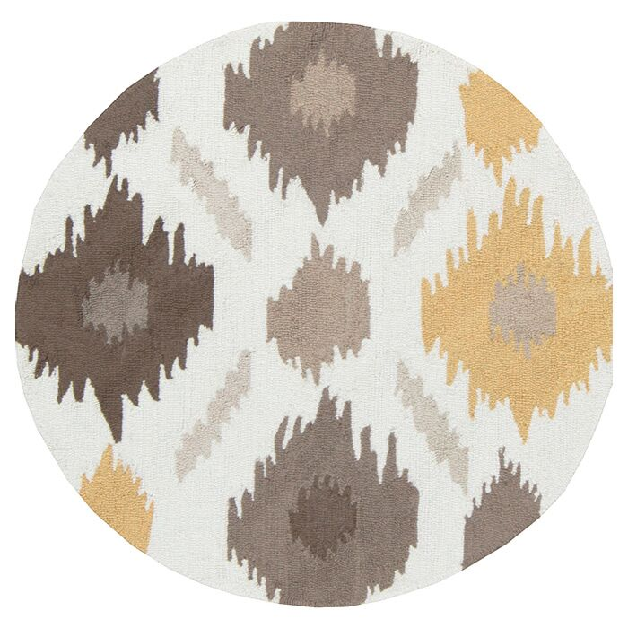 Croghan Ikat Hand-Tufted Gold/Gray Area Rug Rug Size: Round 6'