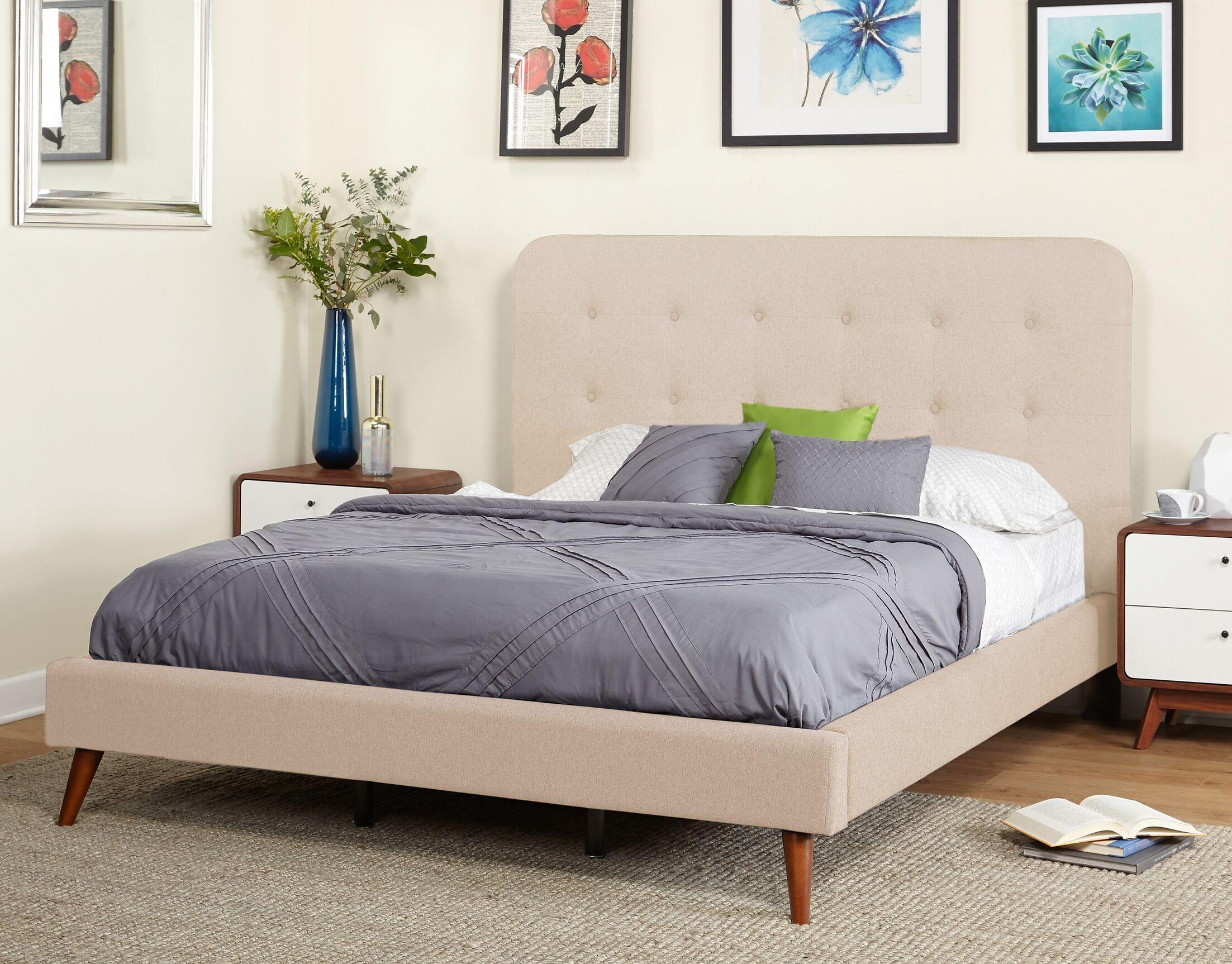 June Mid Century Queen Upholstered Platform Bed Color: Beige