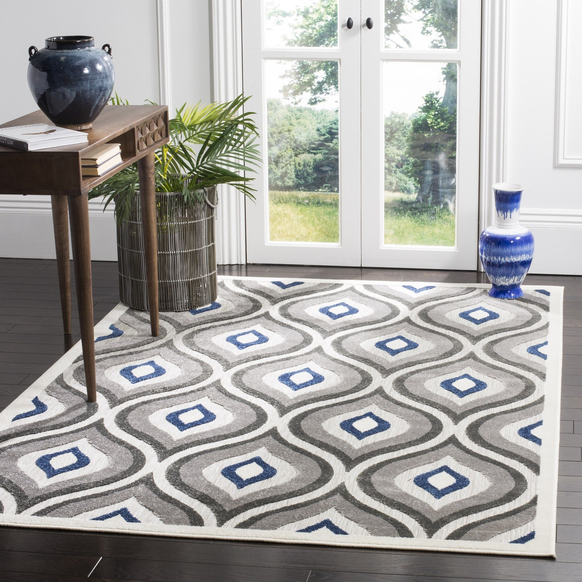 Evans Gray/Royal Area Rug Rug Size: Rectangle 8' x 11'2