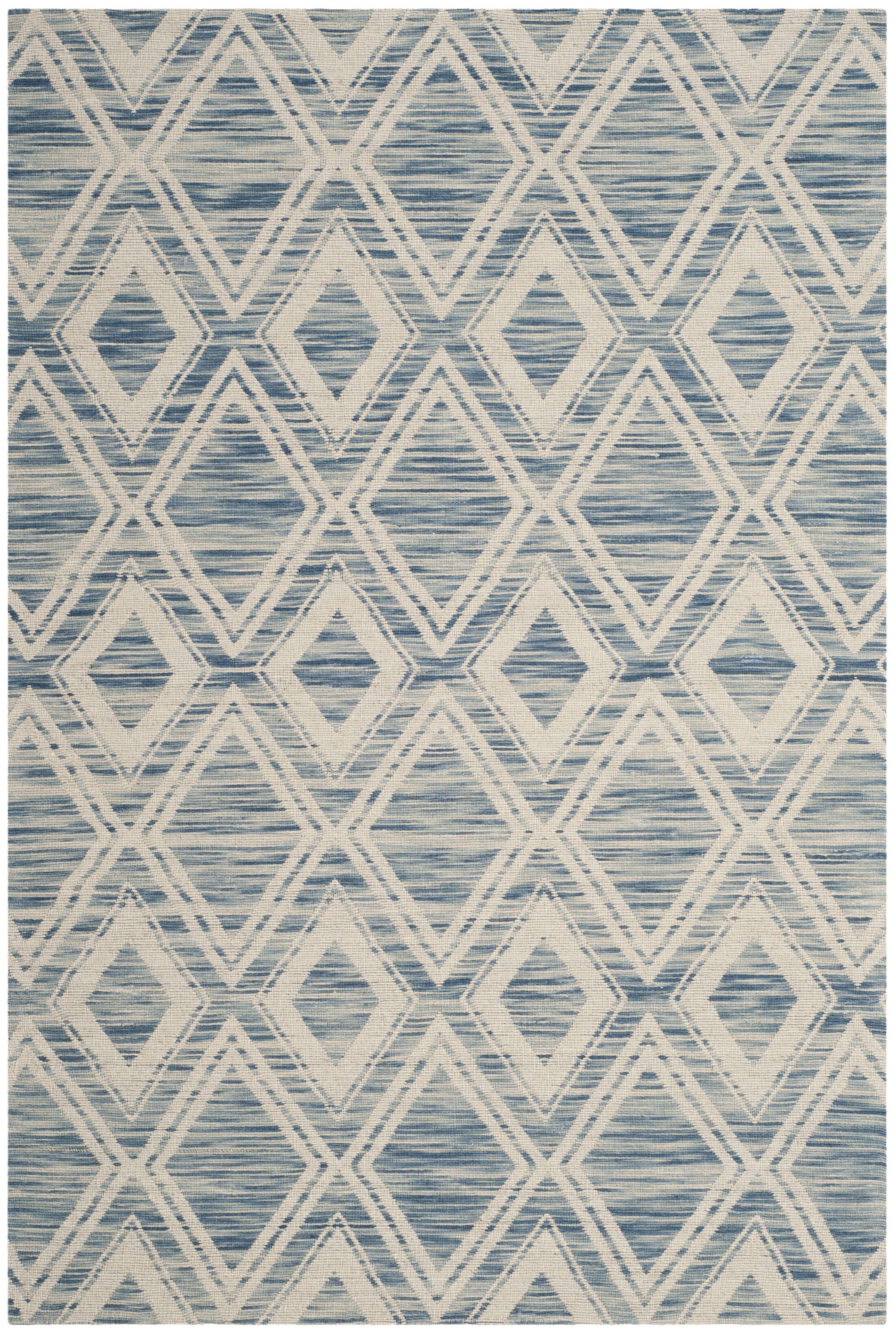 Alexandria Hand-Woven Dark blue/Ivory Area Rug Rug Size: Rectangle 4' x 6'
